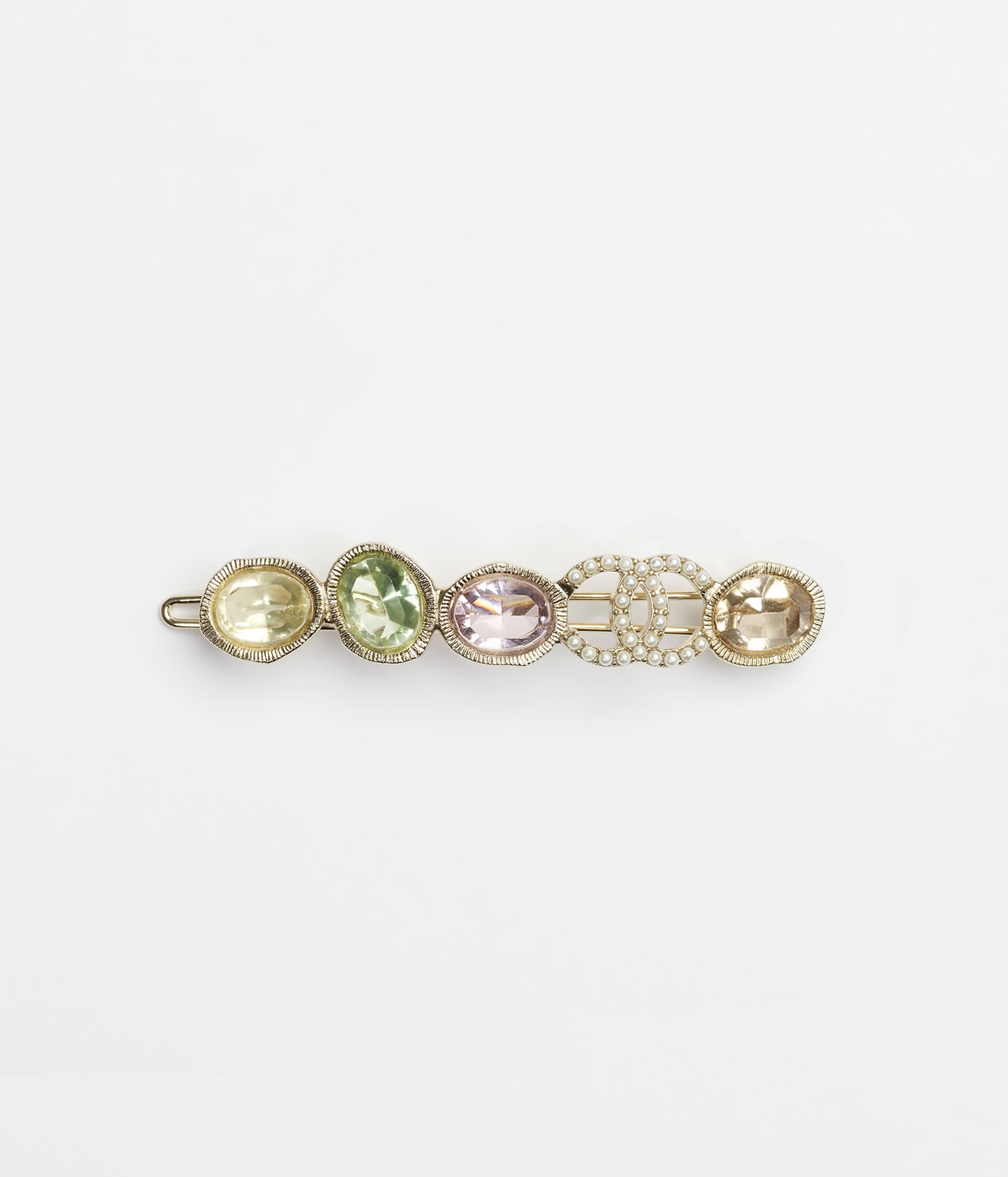 image 1 - Hair Clip - Metal, Glass Pearls & Strass - Gold, Multicolor & Pearly White