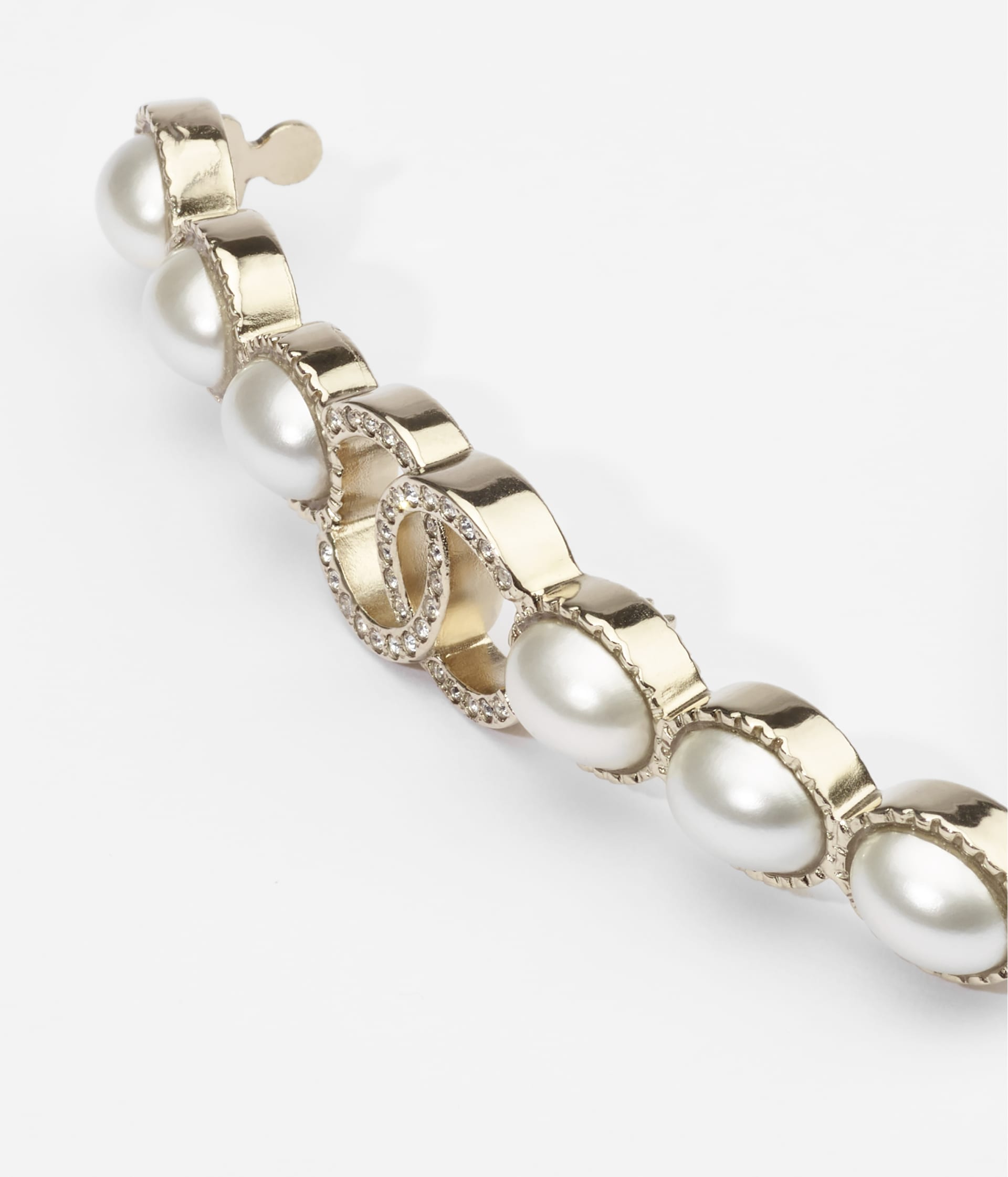 image 2 - Hair Clip - Metal, Resin & Strass - Gold, Pearly White & Crystal