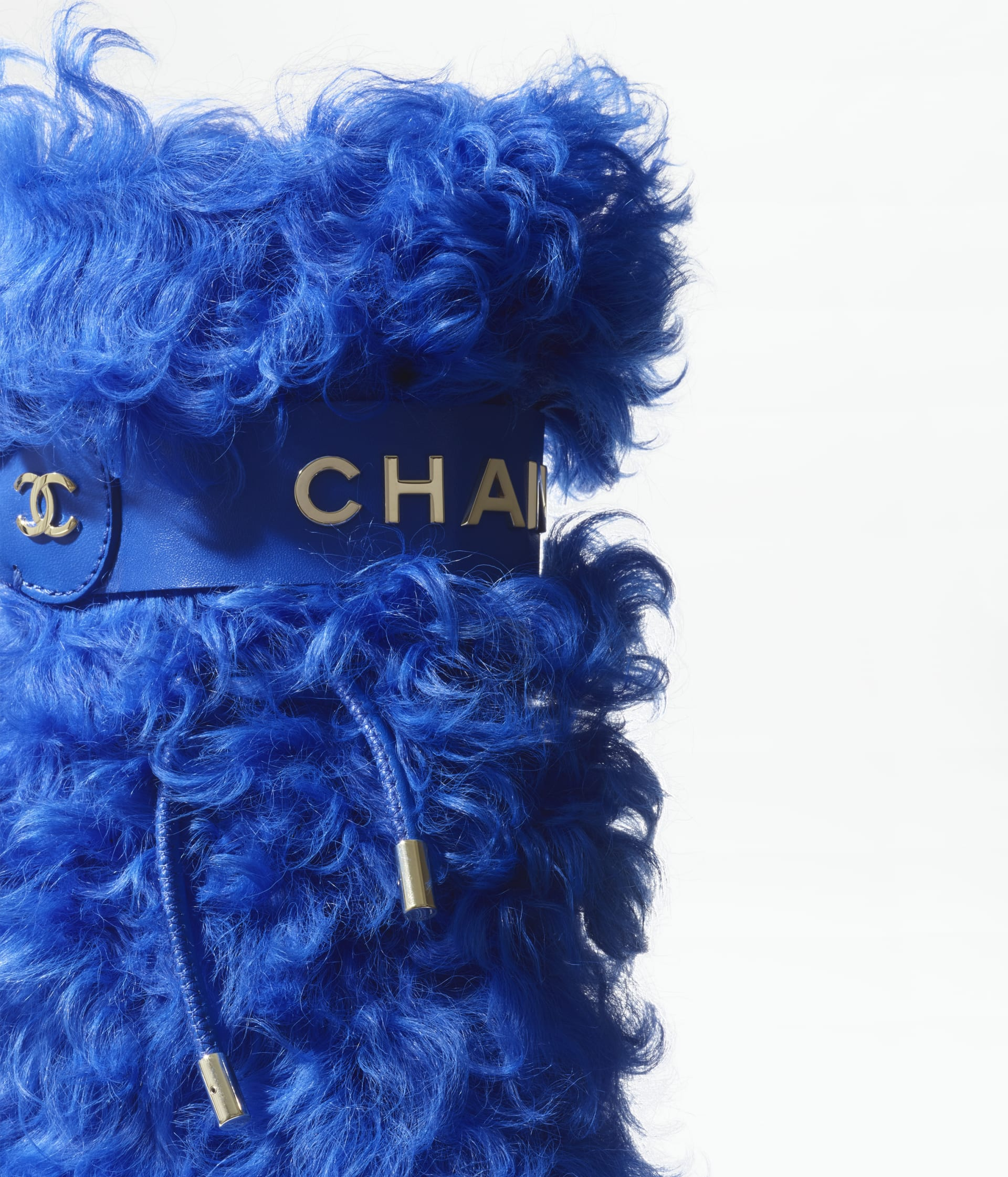 image 3 - High Boots - Shearling Sheepskin - Blue & Black