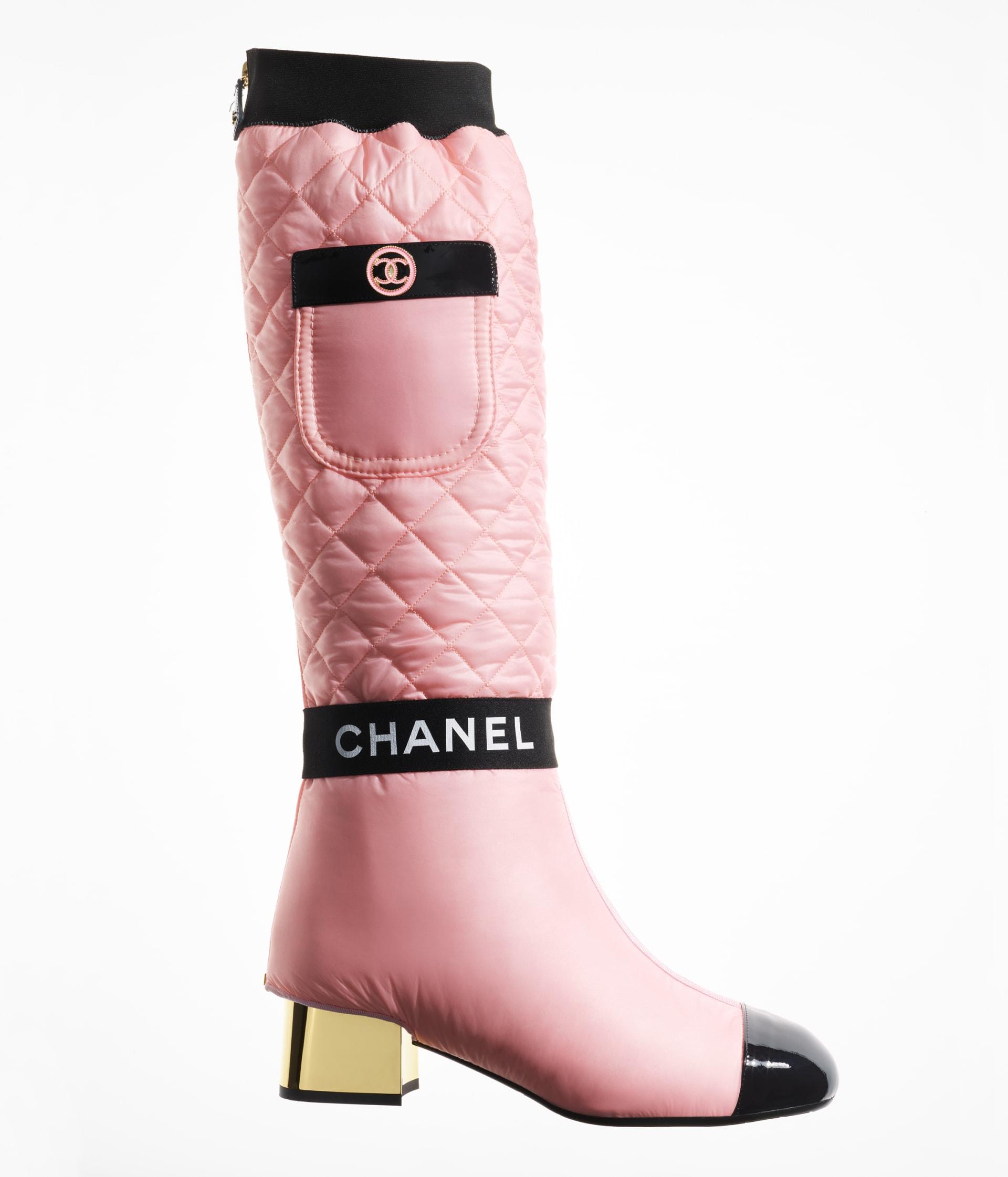 image 1 - High Boots - Mixed Fibers, Lambskin & Patent Calfskin - Light Pink, Pink & Black