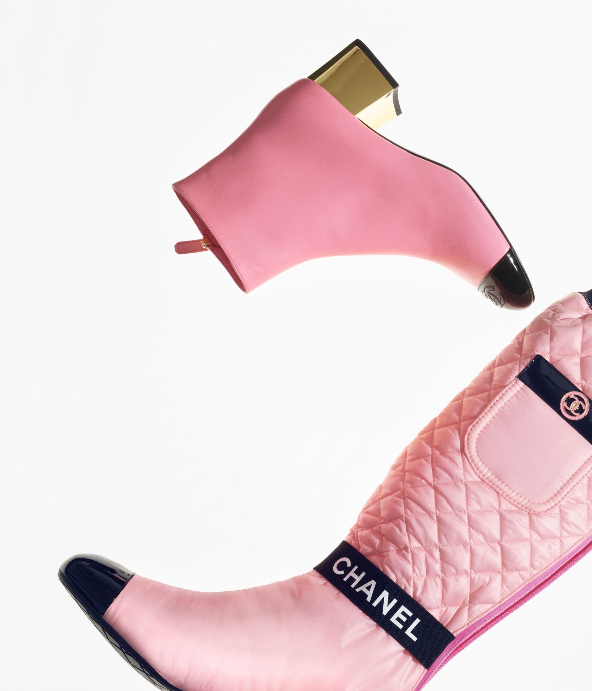 image 3 - High Boots - Mixed Fibers, Lambskin & Patent Calfskin - Light Pink, Pink & Black