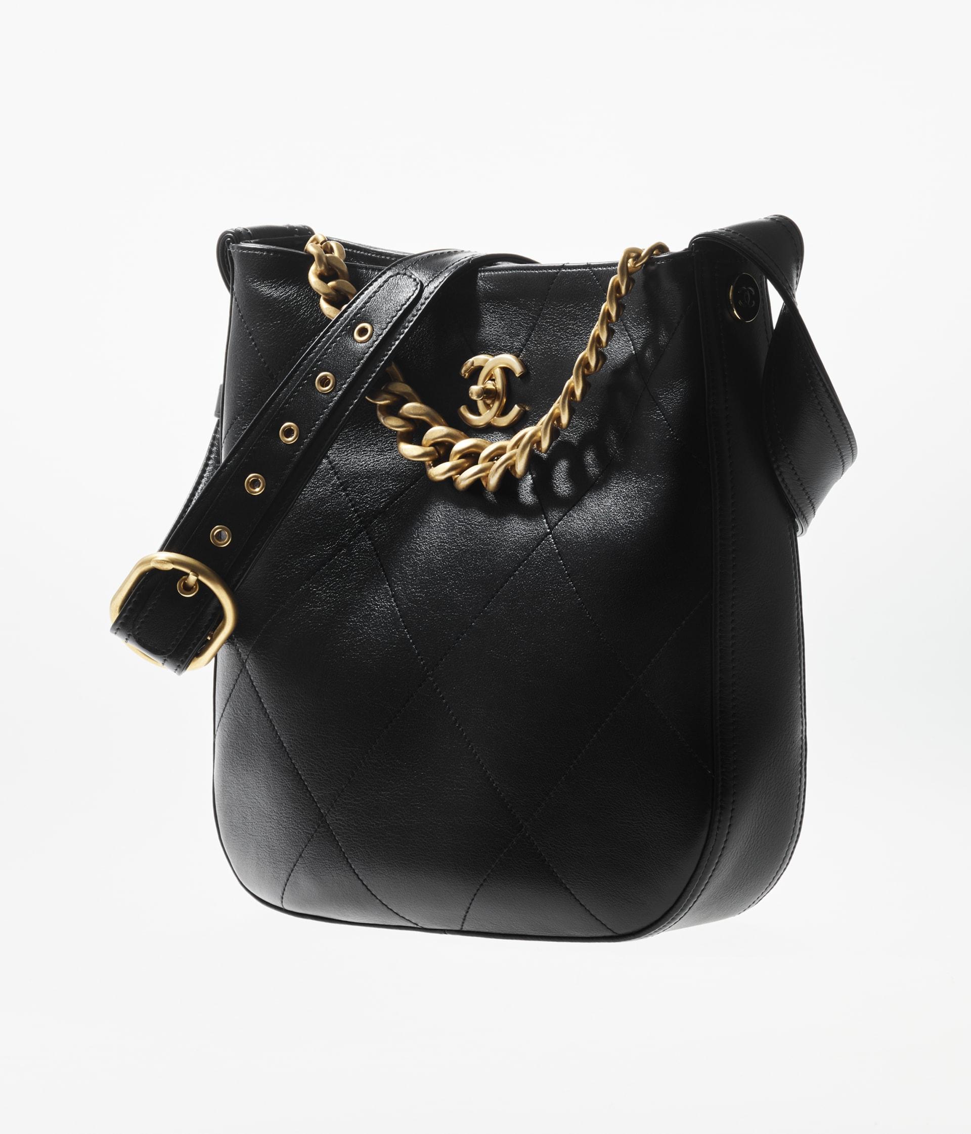 image 2 - Hobo Handbag - Calfskin & Gold-Tone Metal - Black