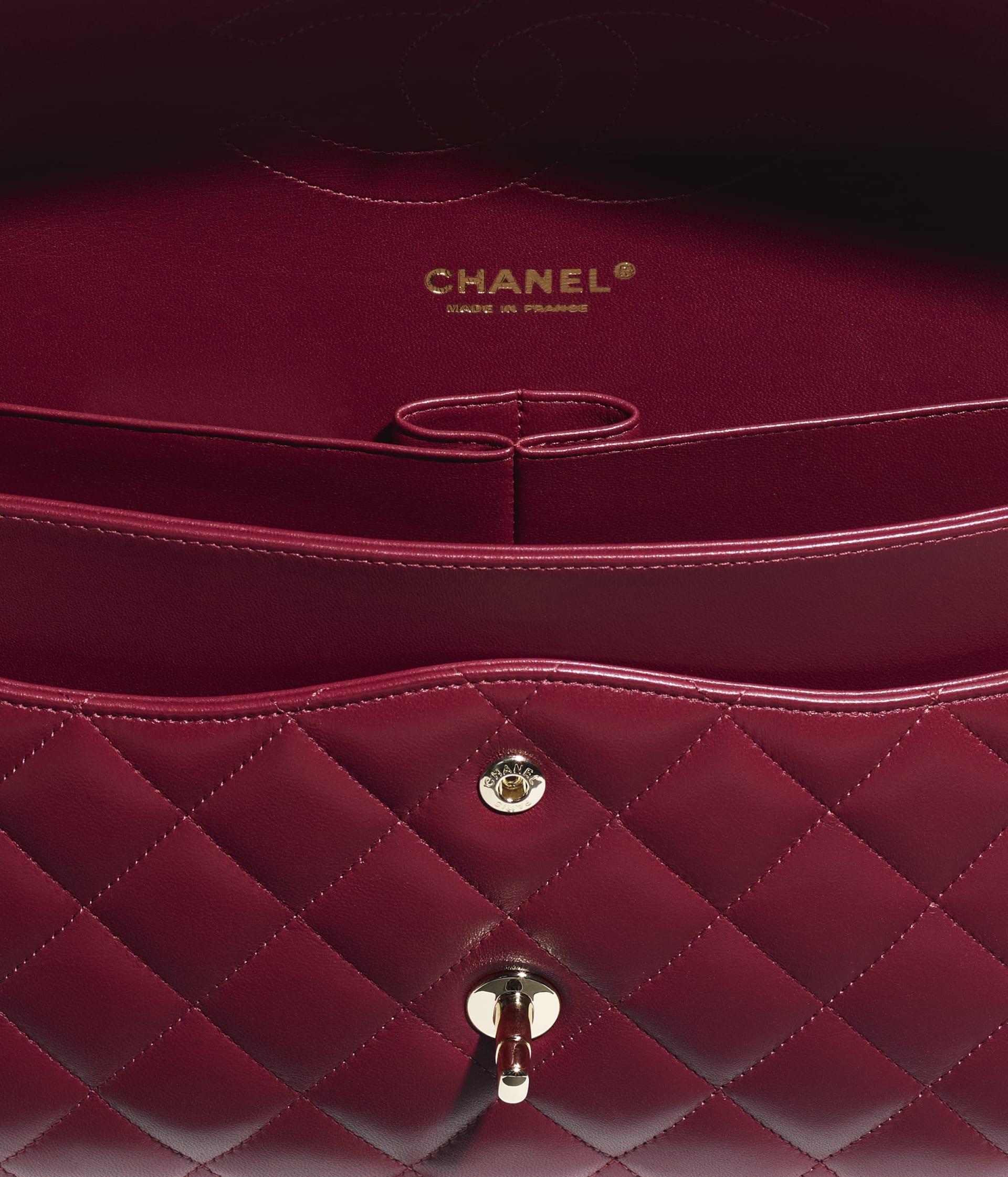image 3 - Large Classic Handbag - Lambskin & Gold-Tone Metal - Burgundy