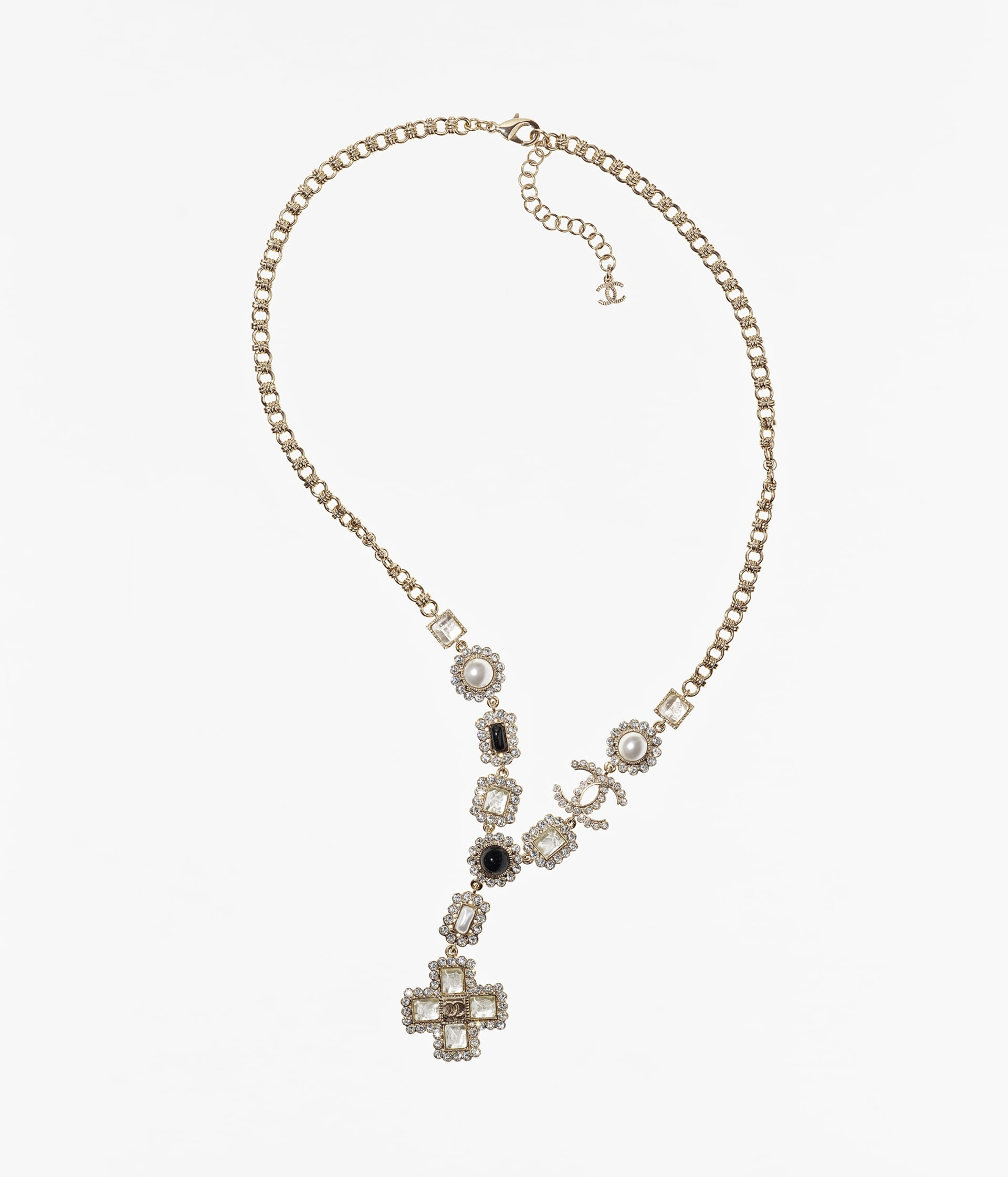 image 1 - Long Necklace - Metal, Glass Pearls, Glass & Strass - Gold, Pearly White, Black & Crystal