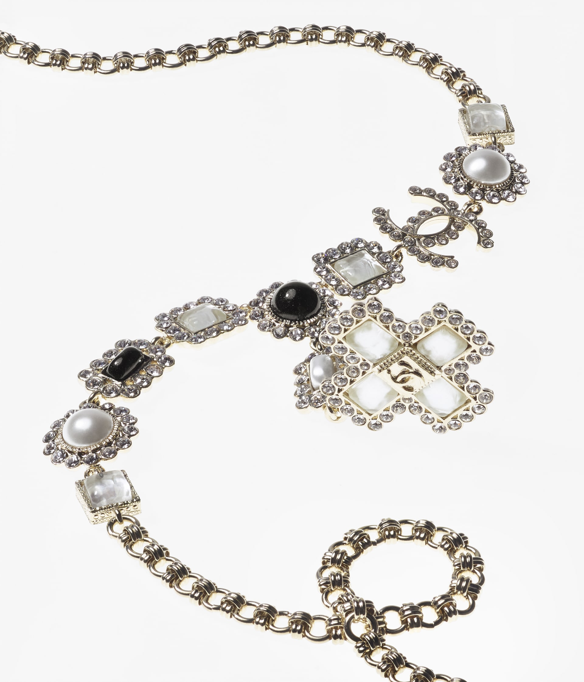 image 2 - Long Necklace - Metal, Glass Pearls, Glass & Strass - Gold, Pearly White, Black & Crystal