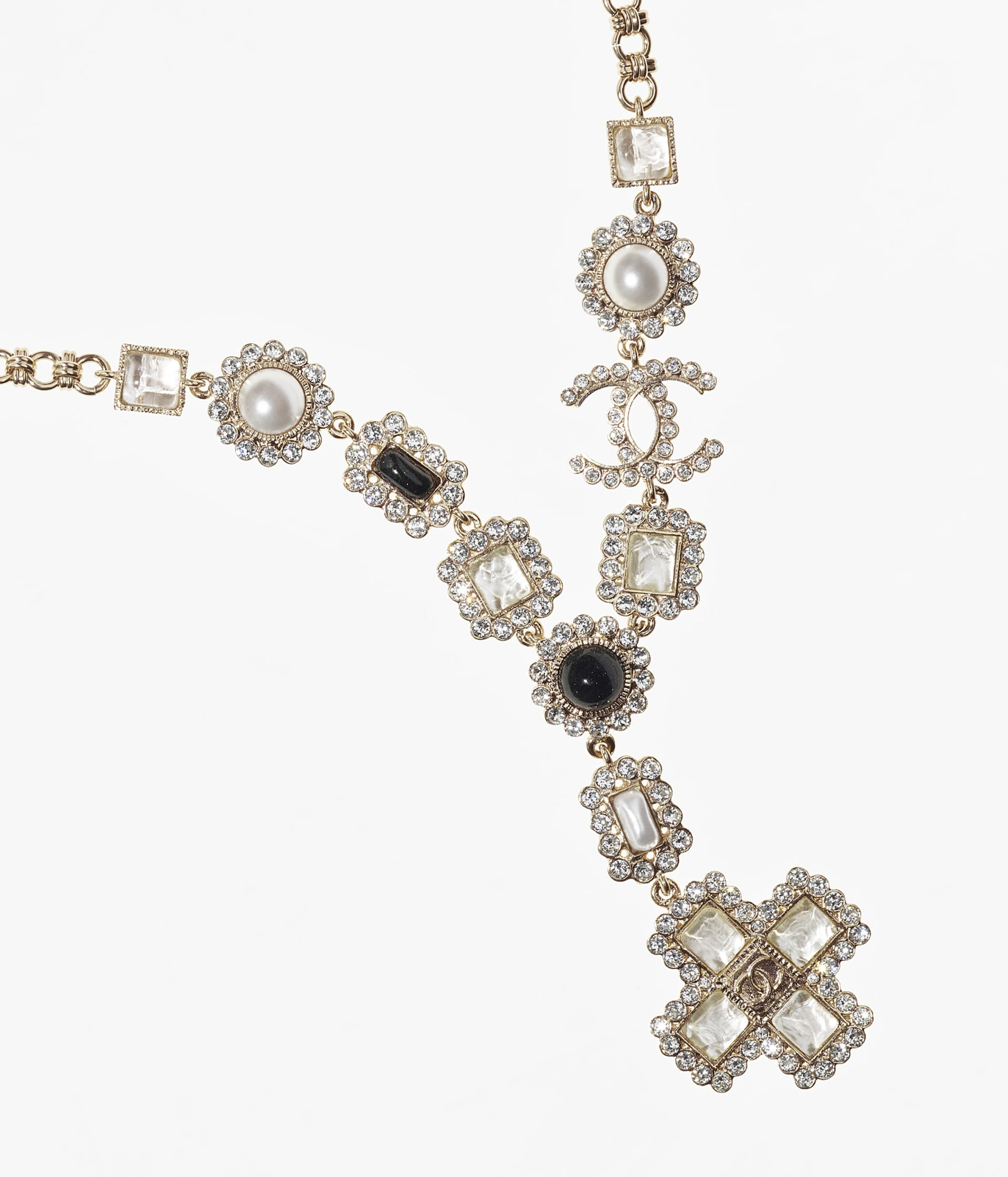 image 3 - Long Necklace - Metal, Glass Pearls, Glass & Strass - Gold, Pearly White, Black & Crystal
