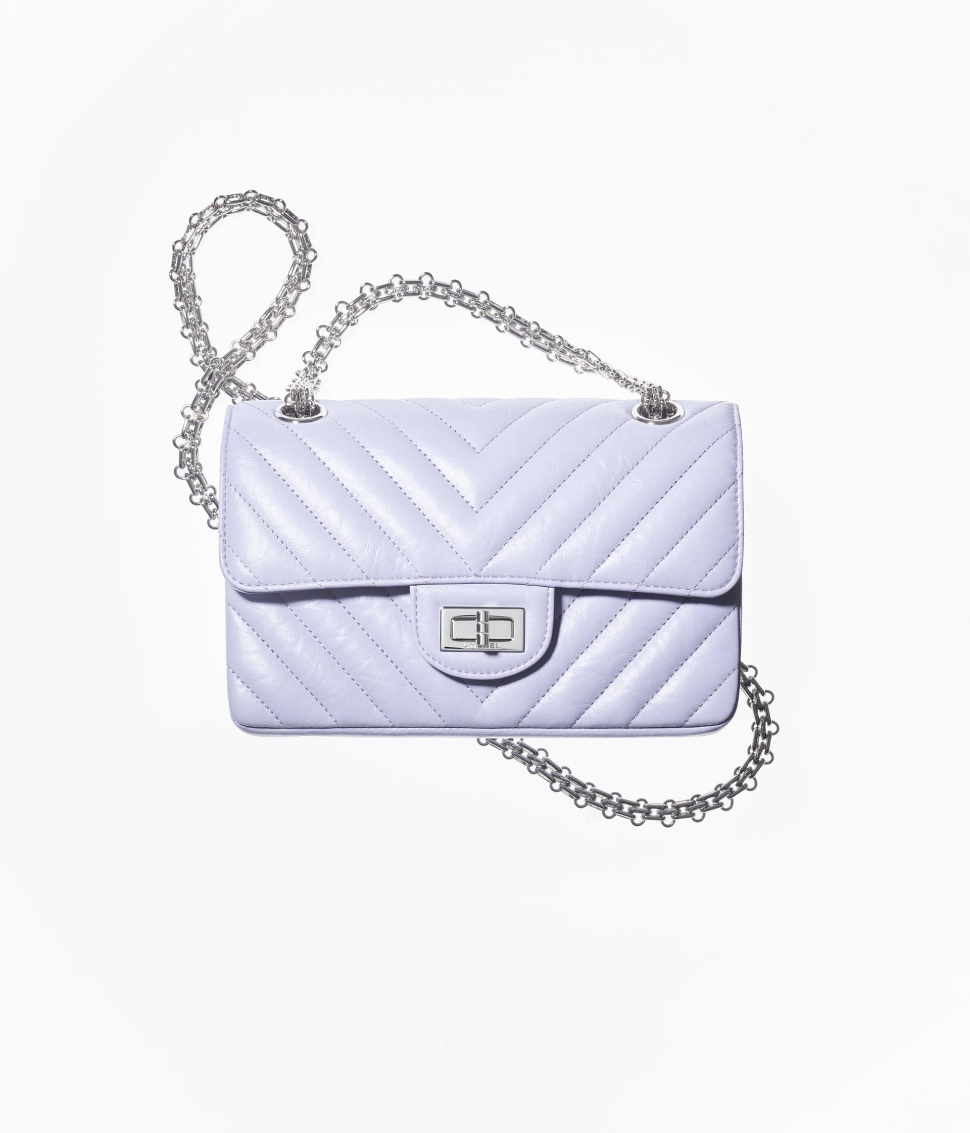 image 1 - Mini 2.55 Handbag - Aged Calfskin & Silver-Tone Metal - Light Purple