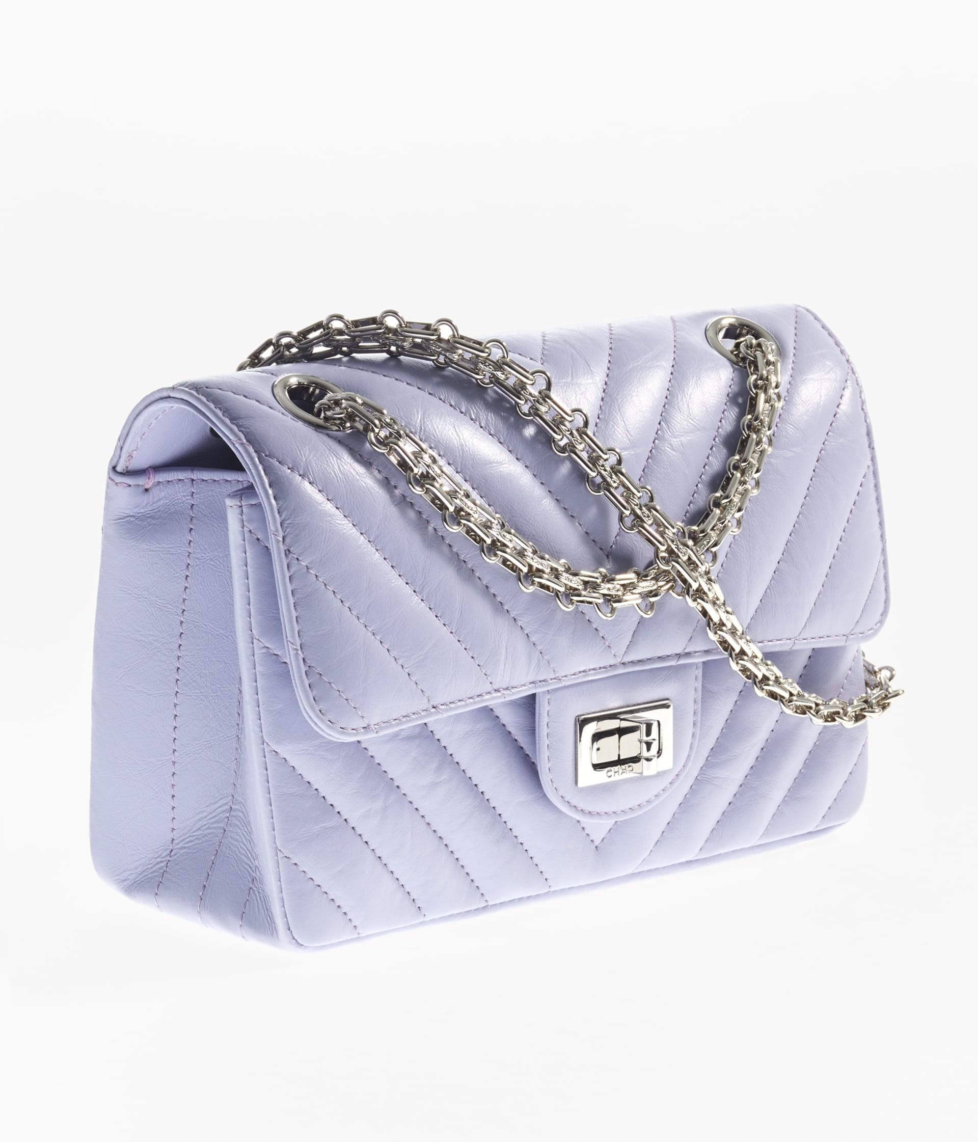 image 2 - Mini 2.55 Handbag - Aged Calfskin & Silver-Tone Metal - Light Purple