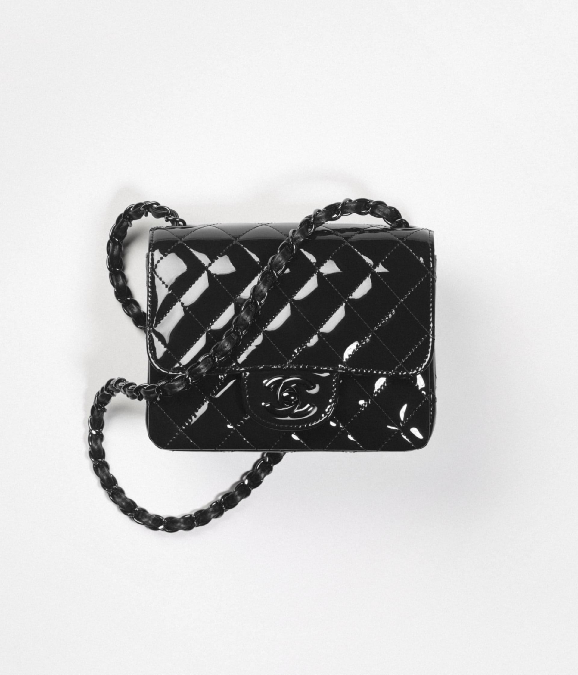image 1 - Mini Flap Bag - Patent Calfskin & Black Metal - Black