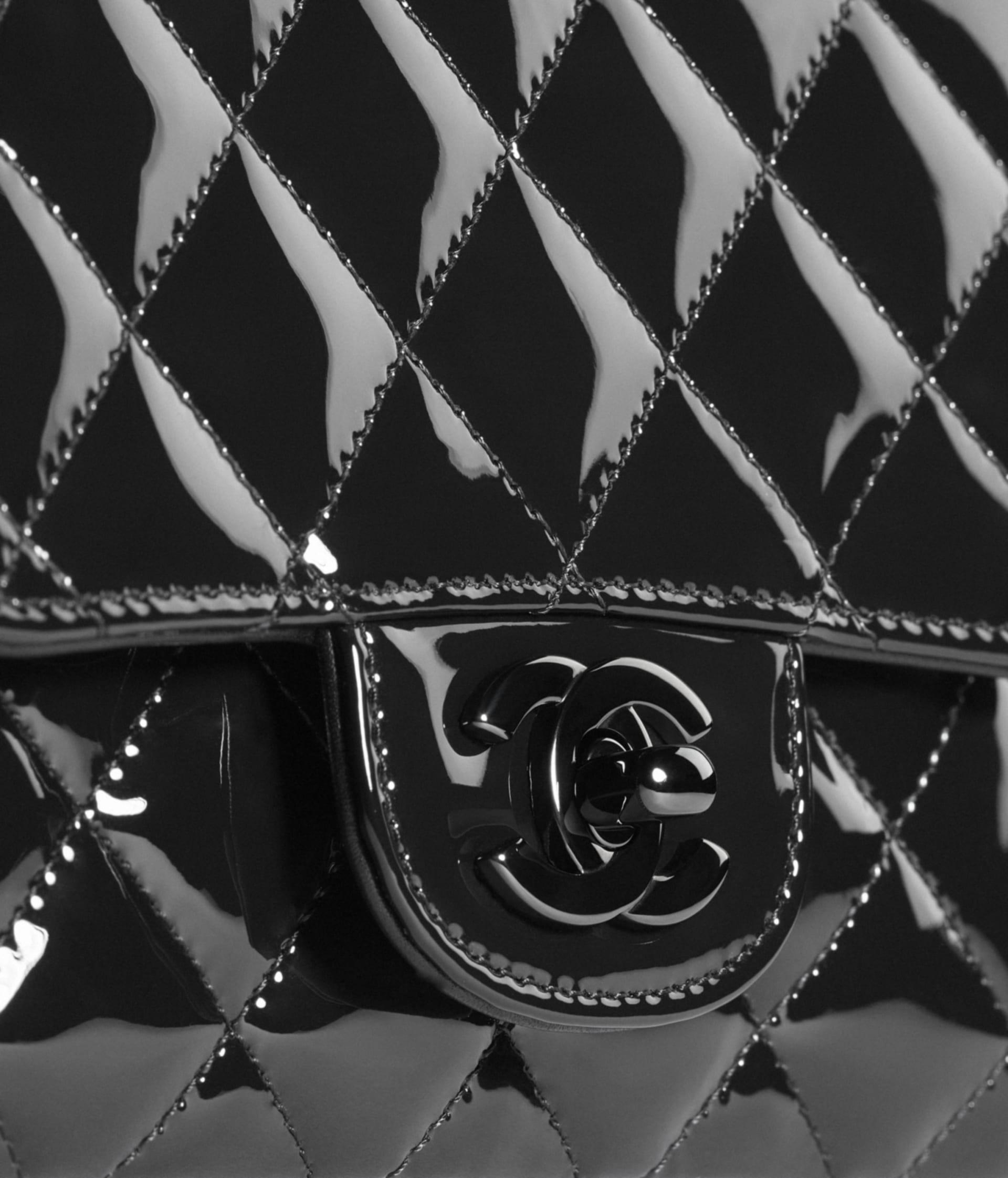 image 4 - Mini Flap Bag - Patent Calfskin & Black Metal - Black