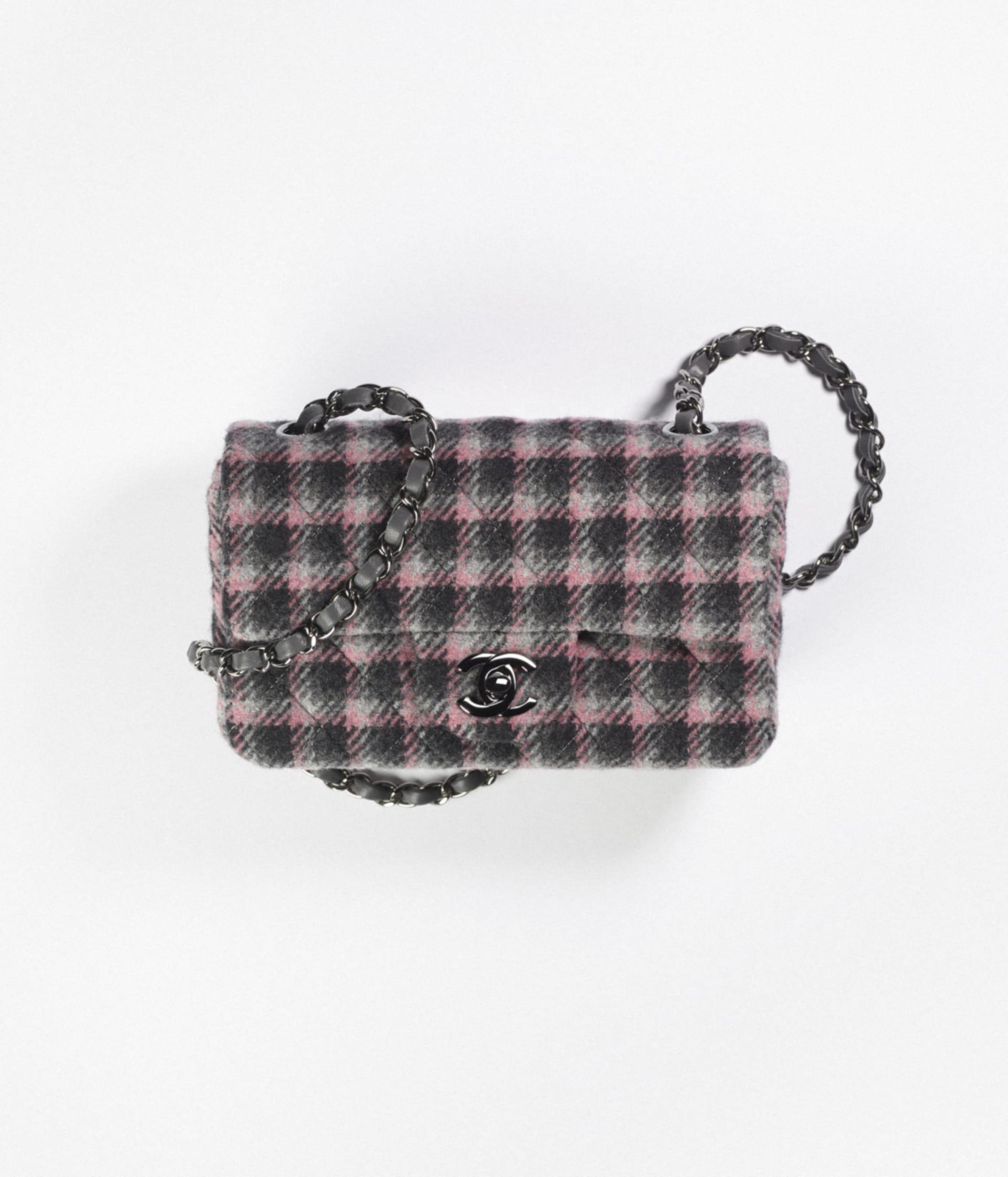 image 1 - Mini Flap Bag - Wool Tweed & Ruthenium-Finish Metal - Black, Pink & Gray