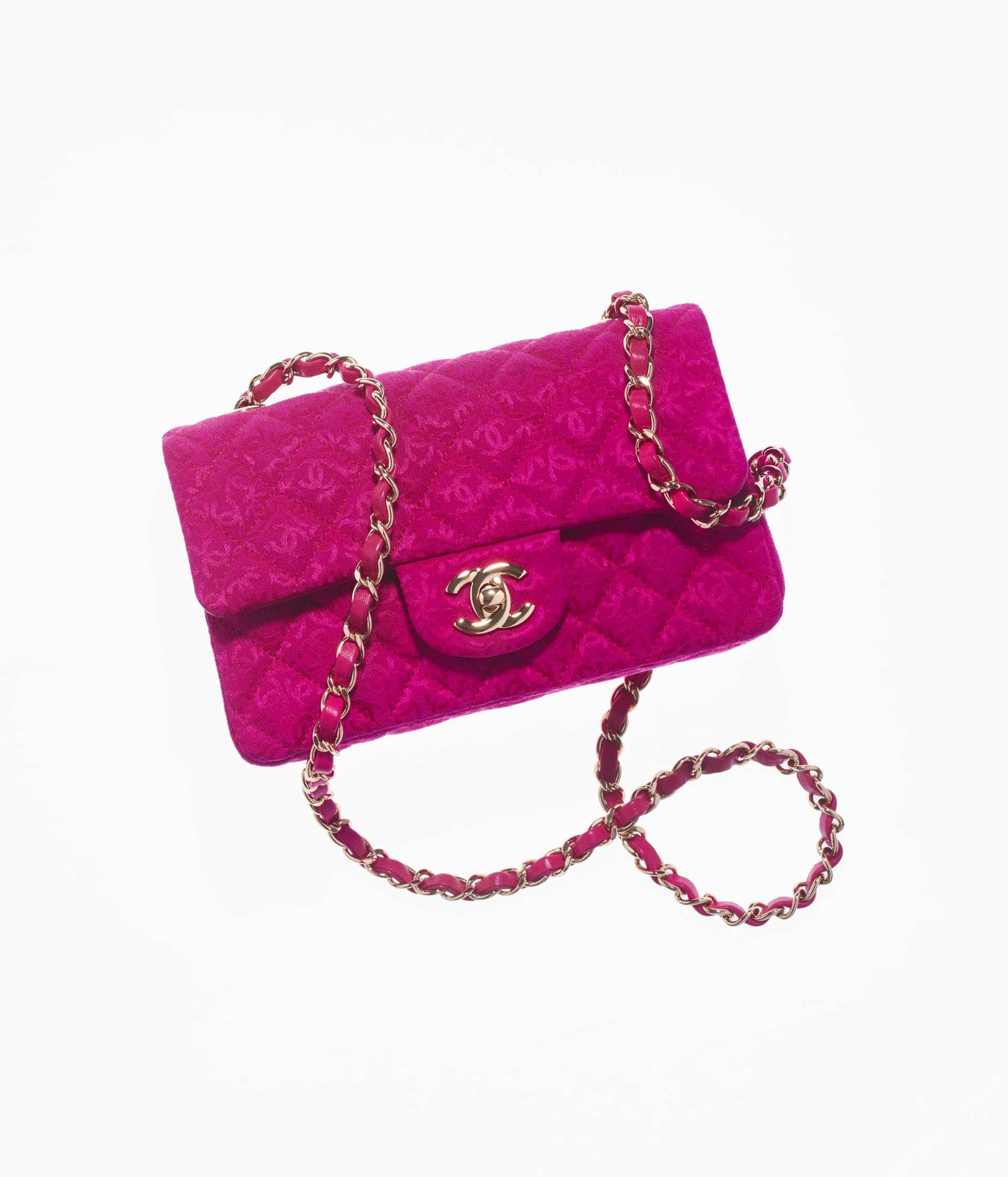 image 1 - Bolsa Mini - Silk Jacquard & Gold-Tone Metal - Rosa Escuro
