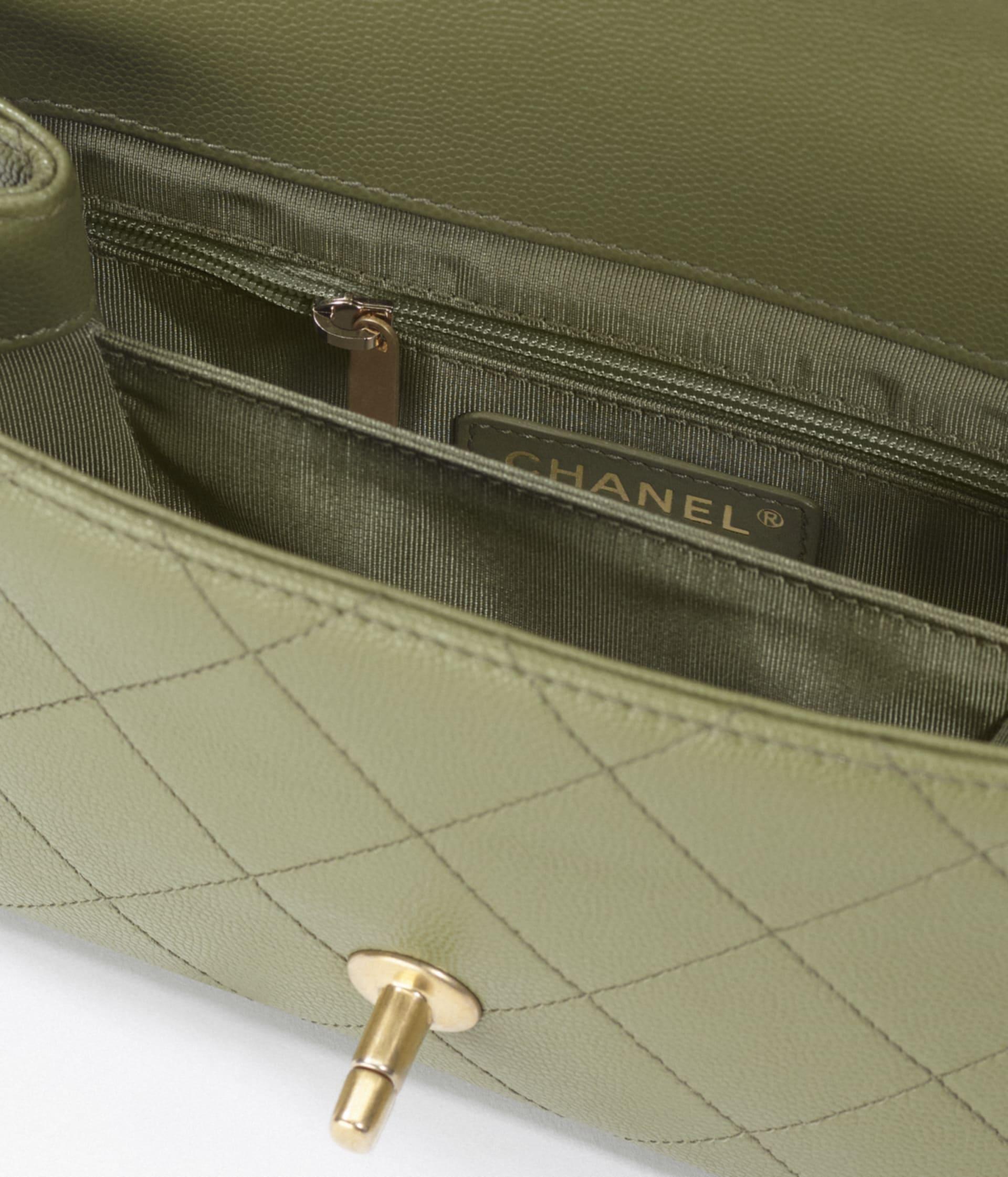 image 3 - Mini Flap Bag - Grained Calfskin & Gold-Tone Metal - Green