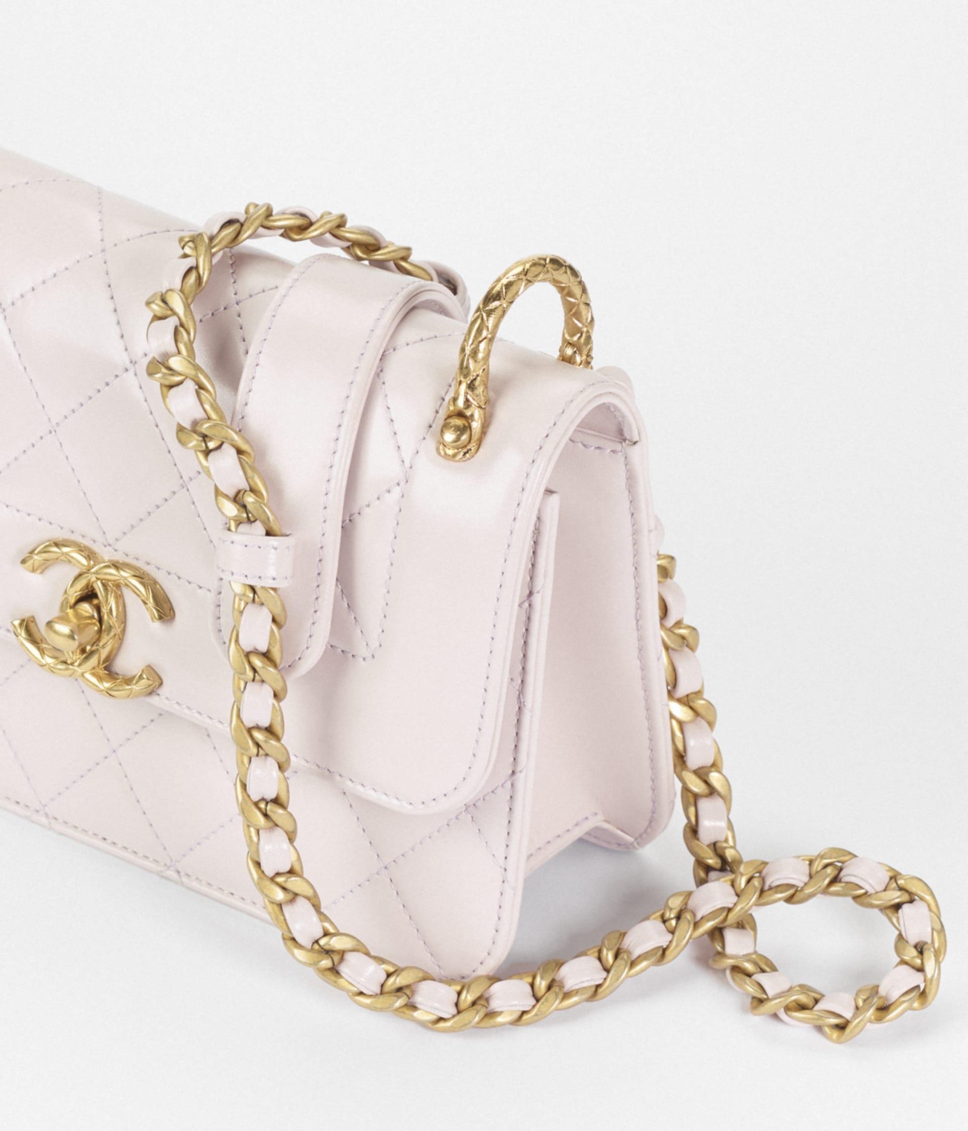 image 3 - Mini Flap Bag - Calfskin & Gold-Tone Metal - Light Purple