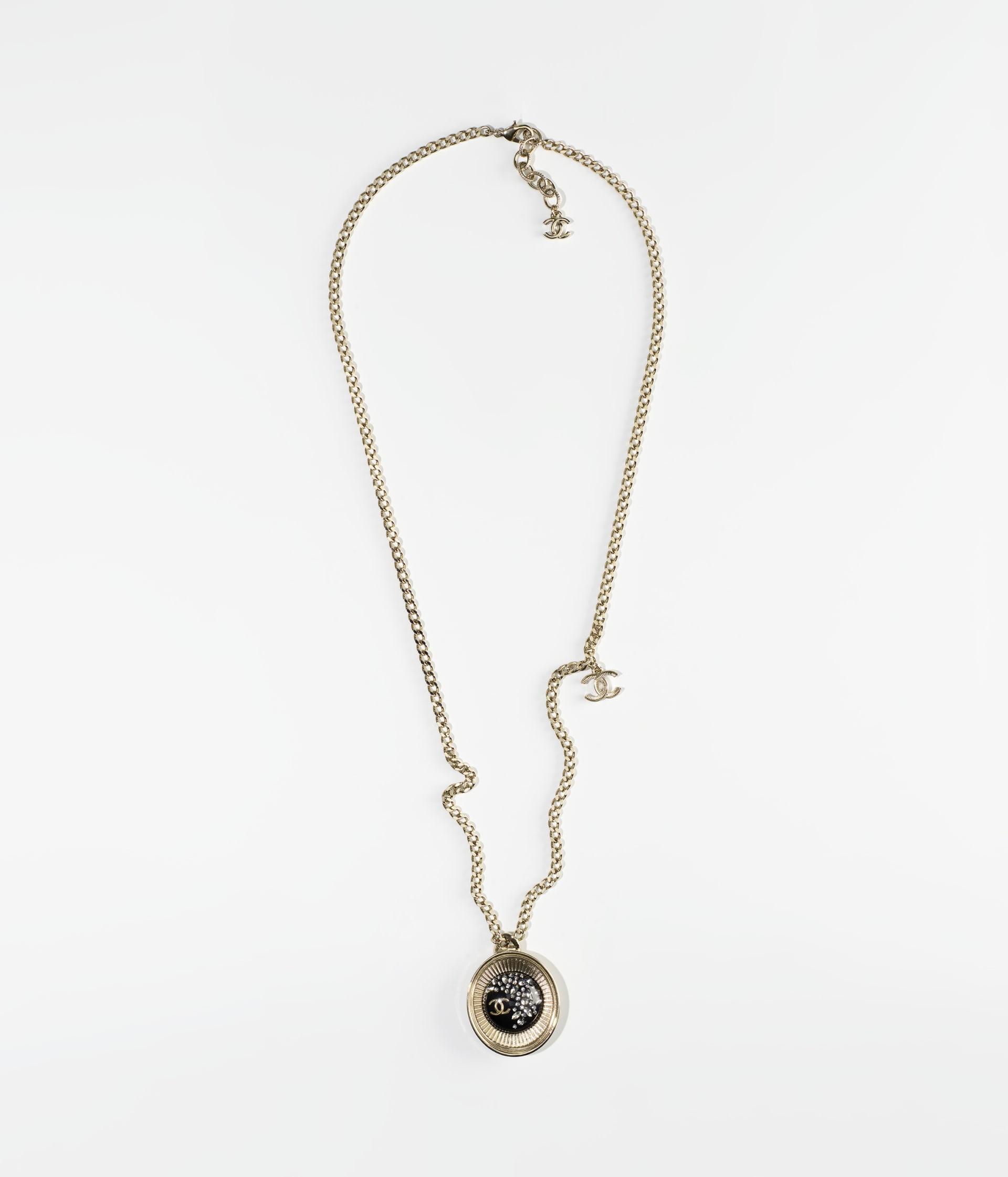 image 1 - Necklace - Metal, Resin & Strass - Gold, Black & Crystal