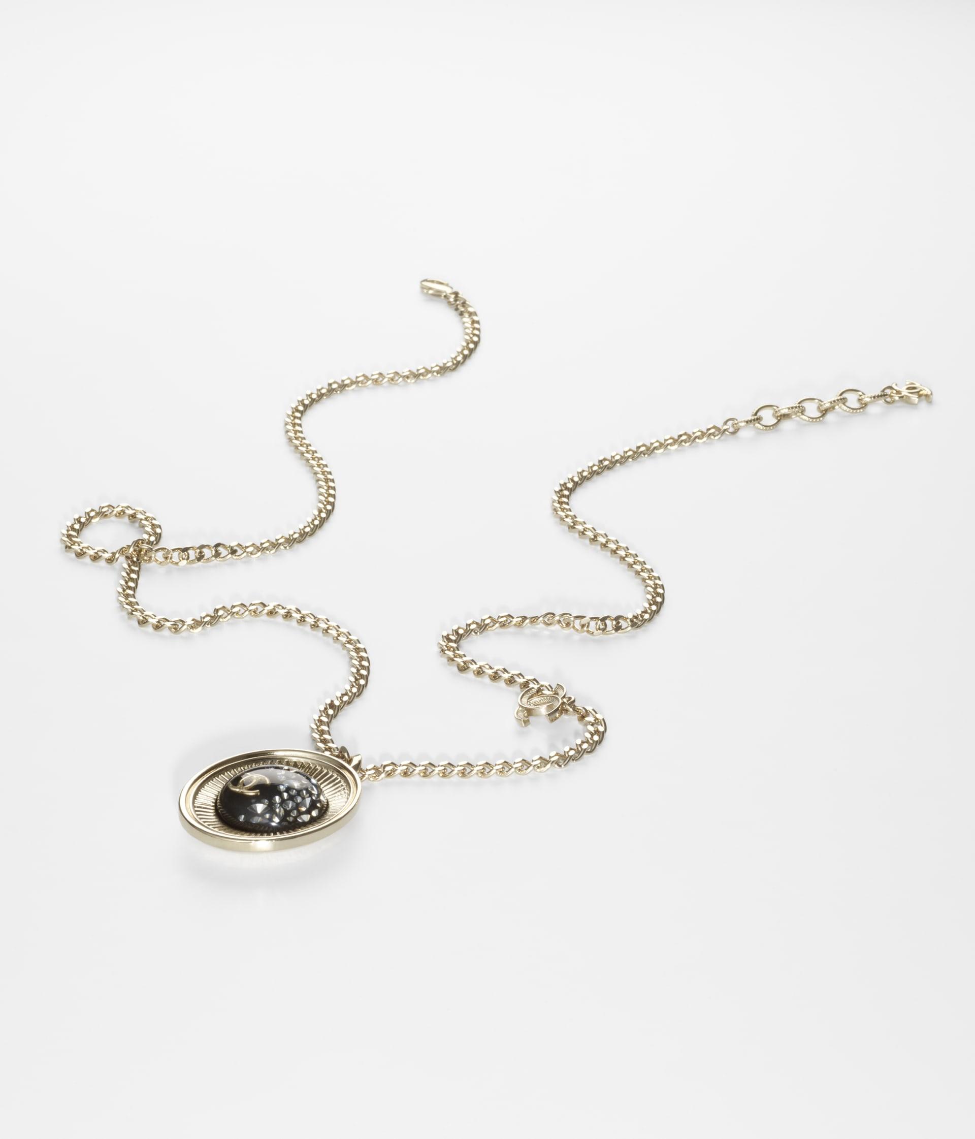 image 2 - Necklace - Metal, Resin & Strass - Gold, Black & Crystal