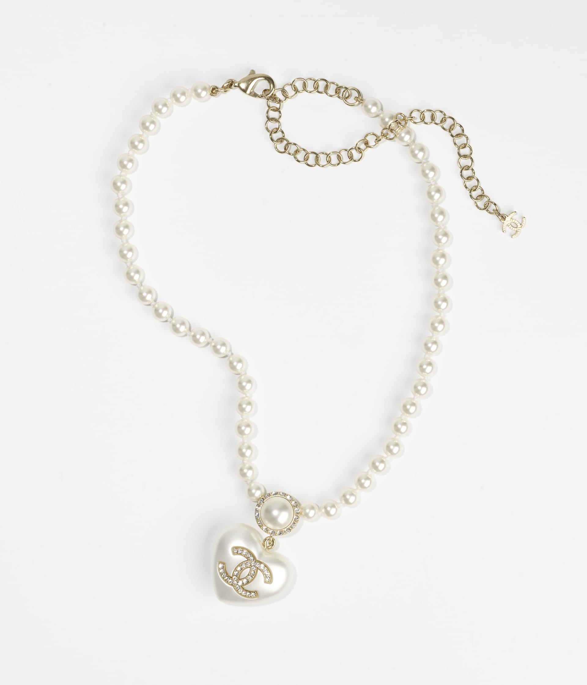 image 1 - Necklace - Metal, Resin, Imitation Pearls, Glass Pearls & Strass - Gold, Pearly White & Crystal