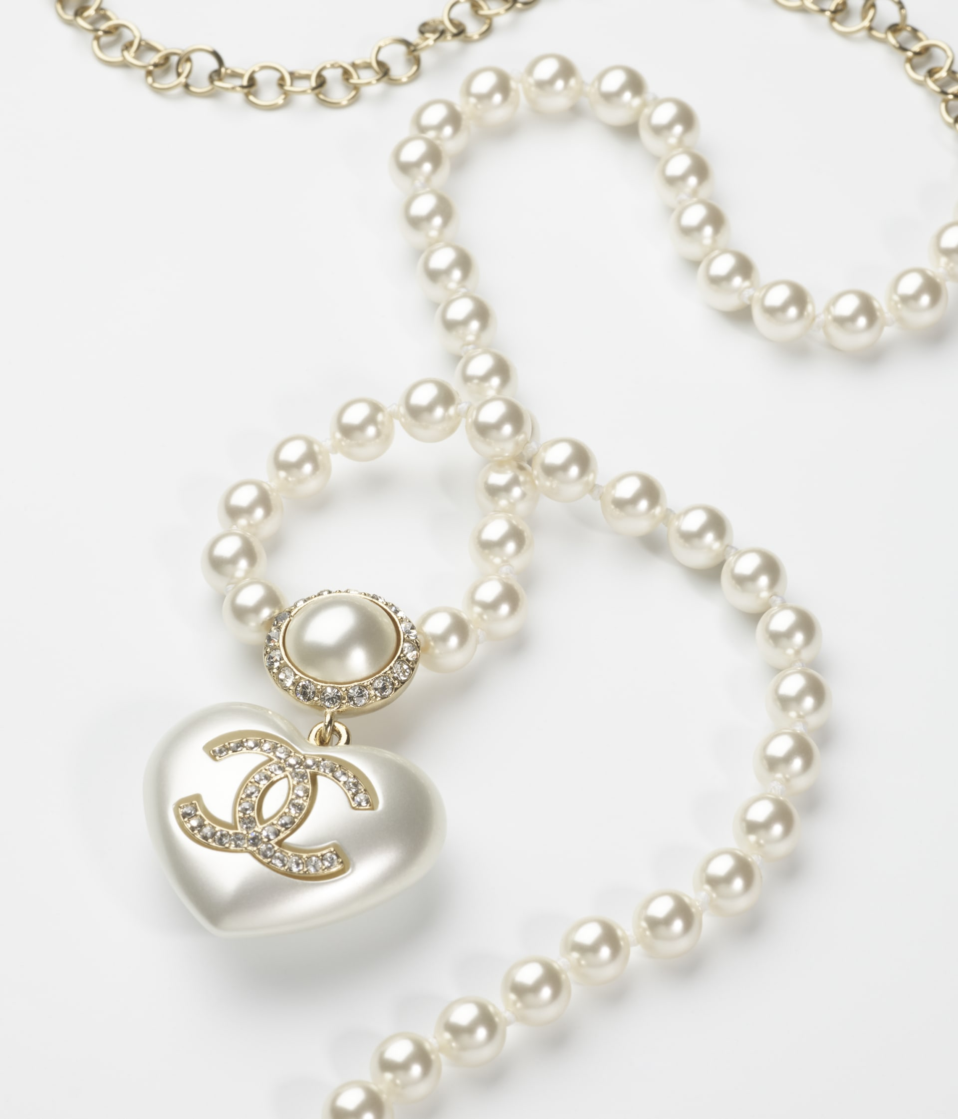 image 2 - Necklace - Metal, Resin, Imitation Pearls, Glass Pearls & Strass - Gold, Pearly White & Crystal