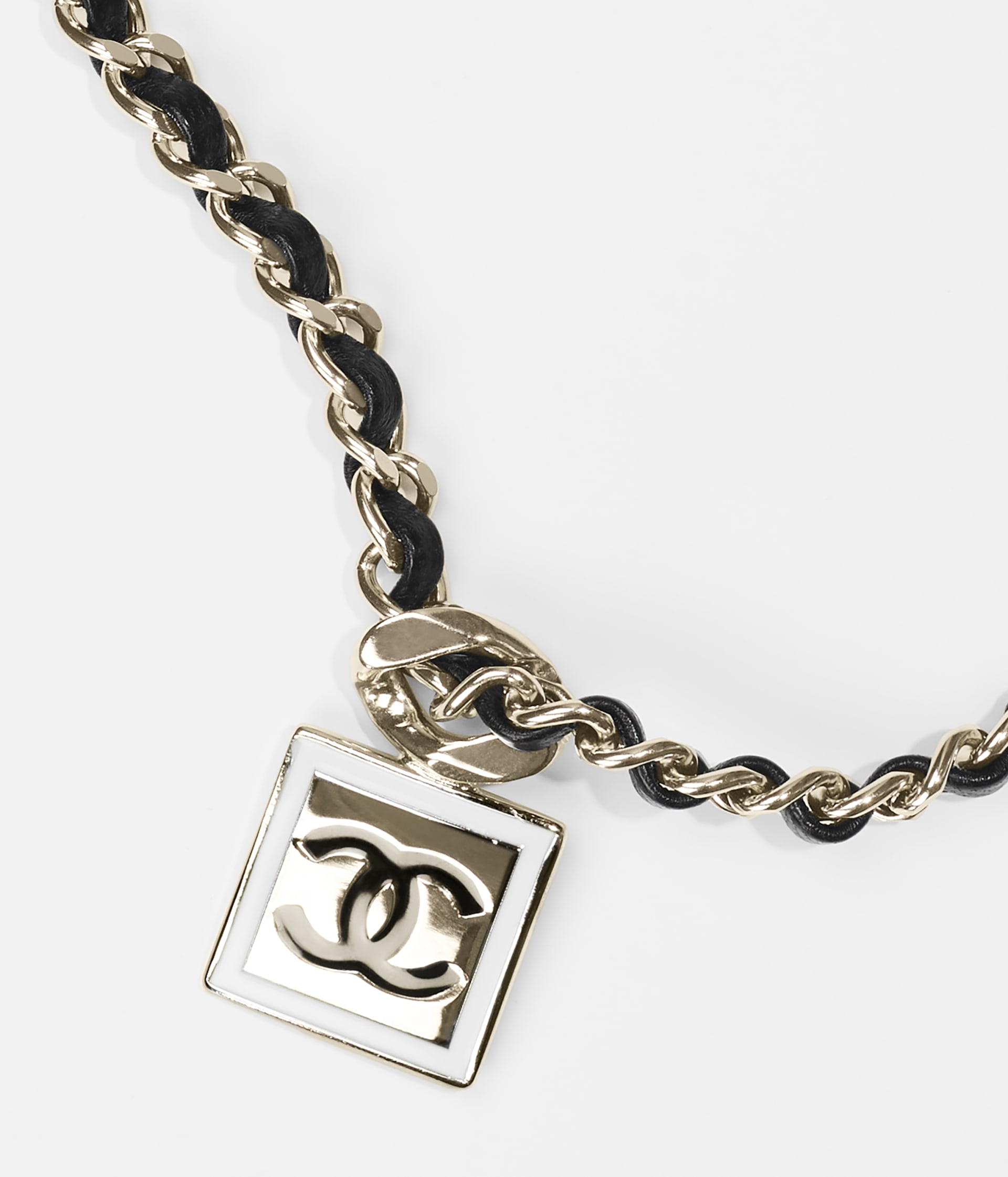 image 3 - Necklace - Metal & Lambskin - Gold, White & Black