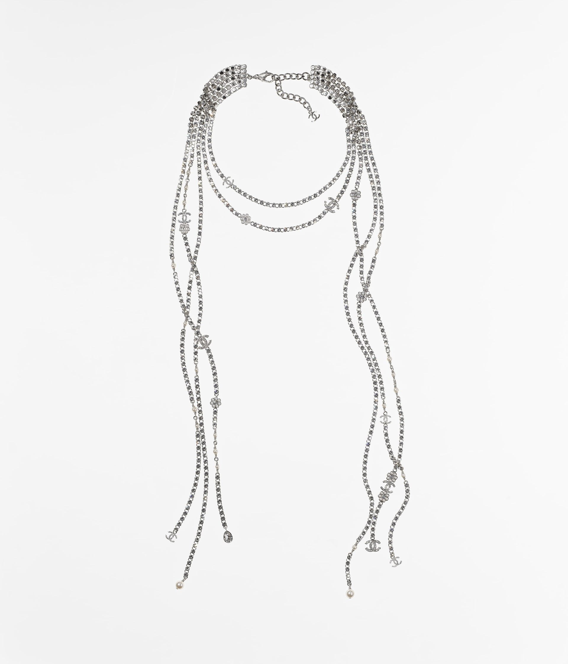 image 1 - Necklace - Metal, Strass & Glass Pearls - Silver, Crystal & Pearly White