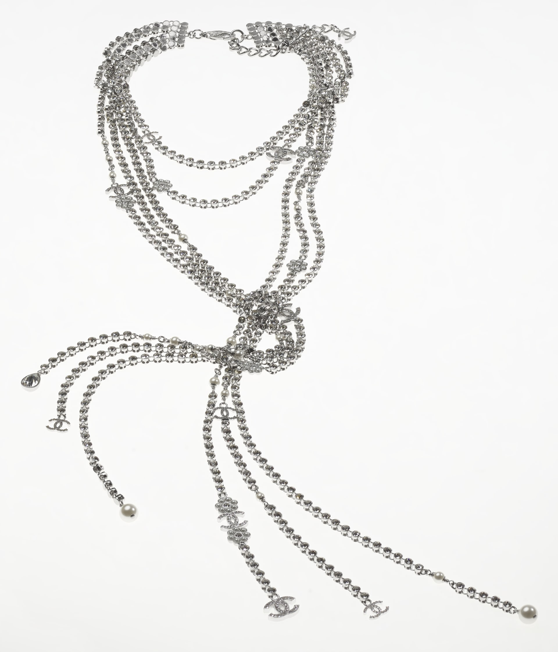 image 2 - Necklace - Metal, Strass & Glass Pearls - Silver, Crystal & Pearly White