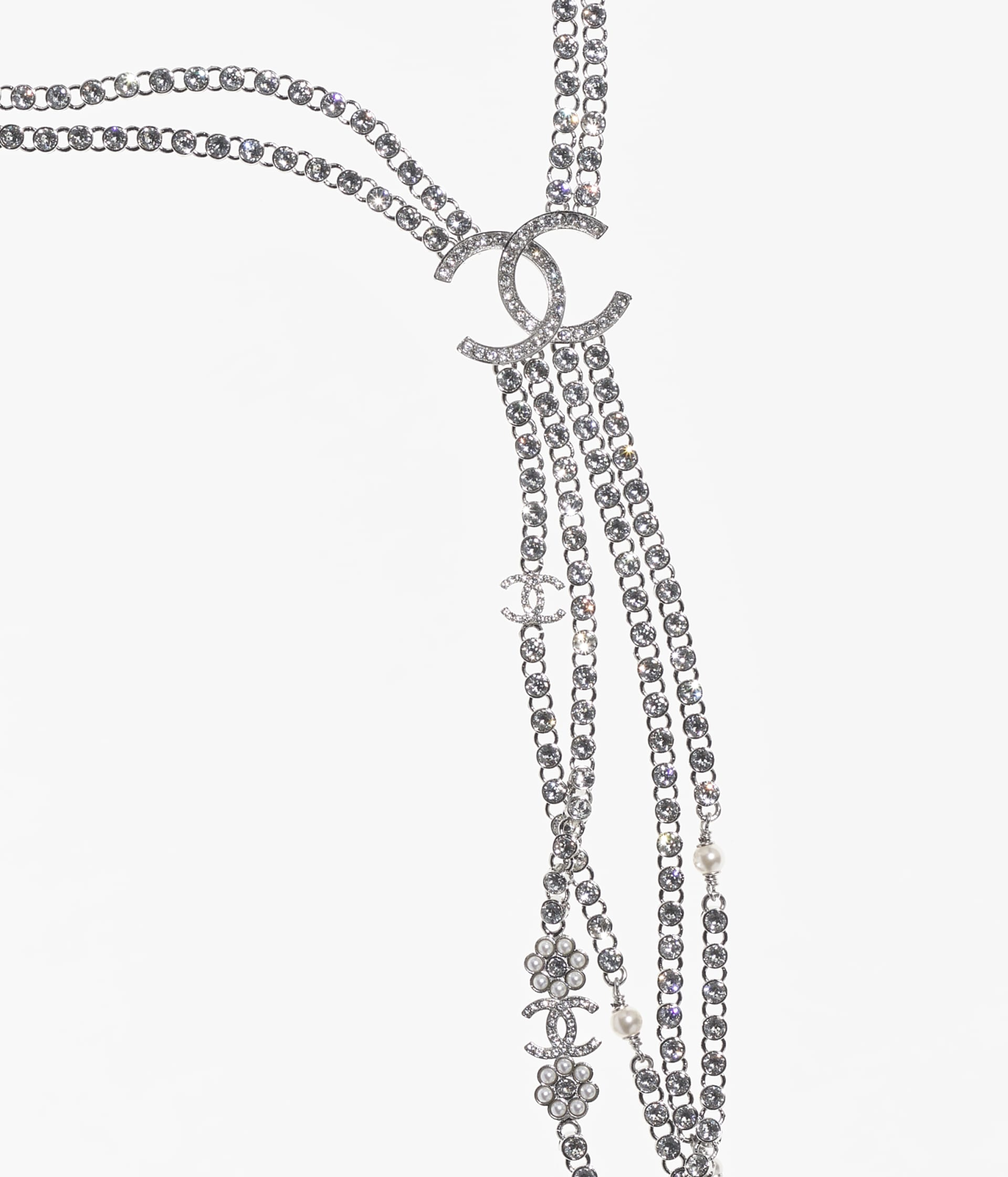 image 3 - Necklace - Metal, Strass & Glass Pearls - Silver, Crystal & Pearly White