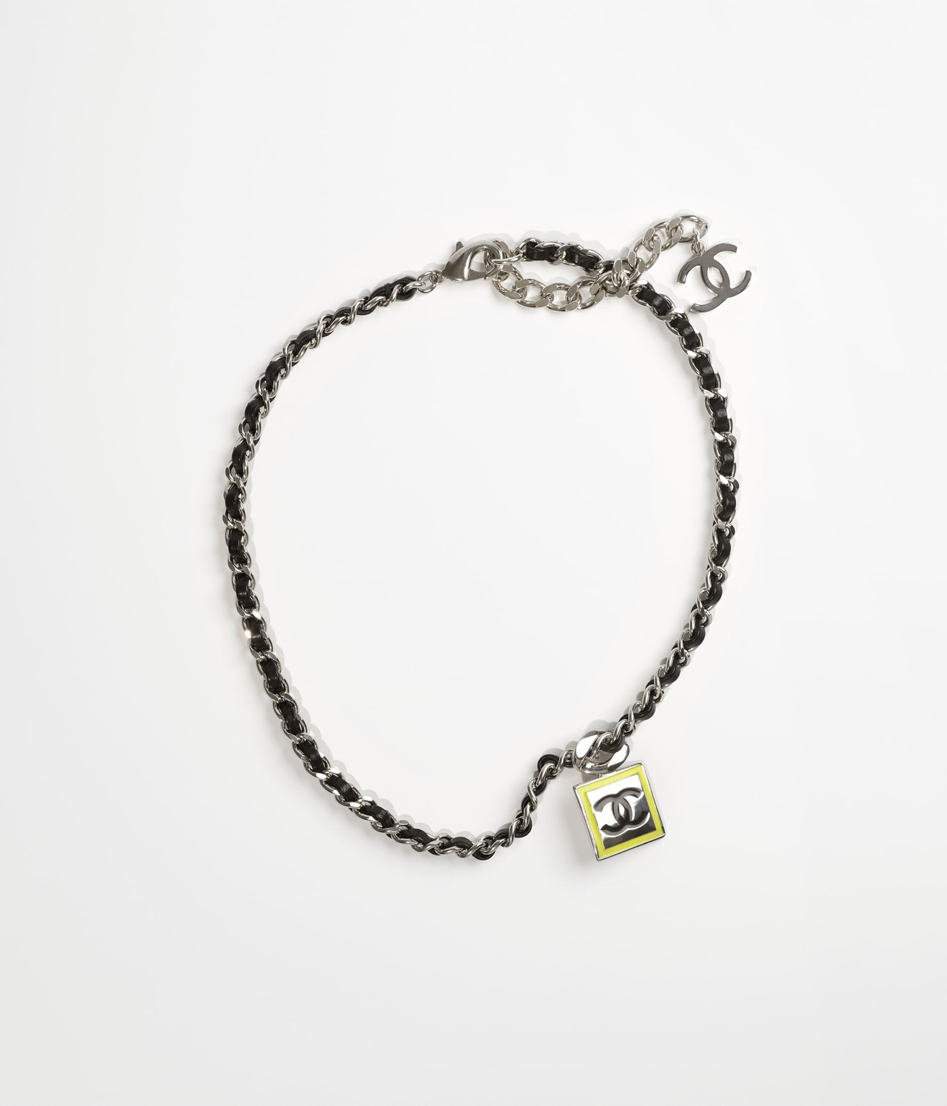 image 1 - Necklace - Metal & Lambskin - Silver, Neon Yellow & Black