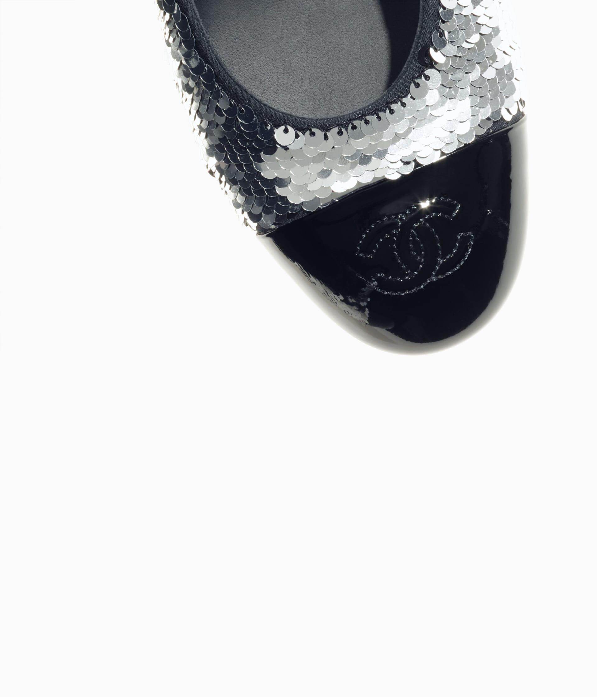 image 4 - Pumps - Sequins & Patent Calfskin - Silver & Black
