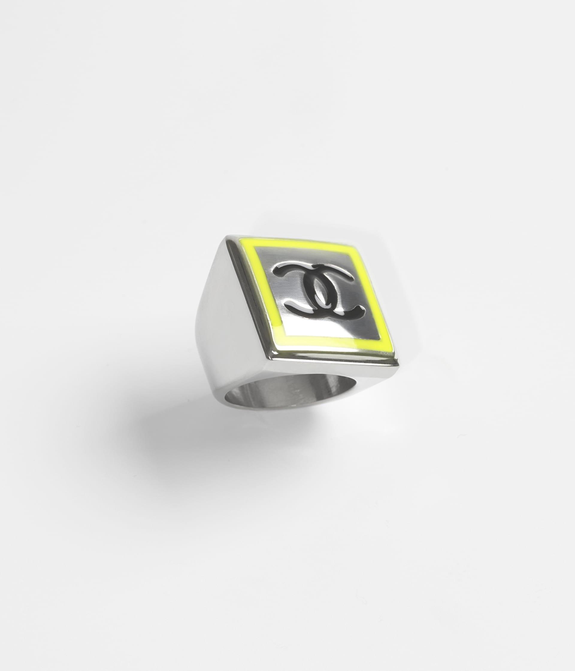 image 1 - Ring - Metal - Silver, Neon Yellow & Black