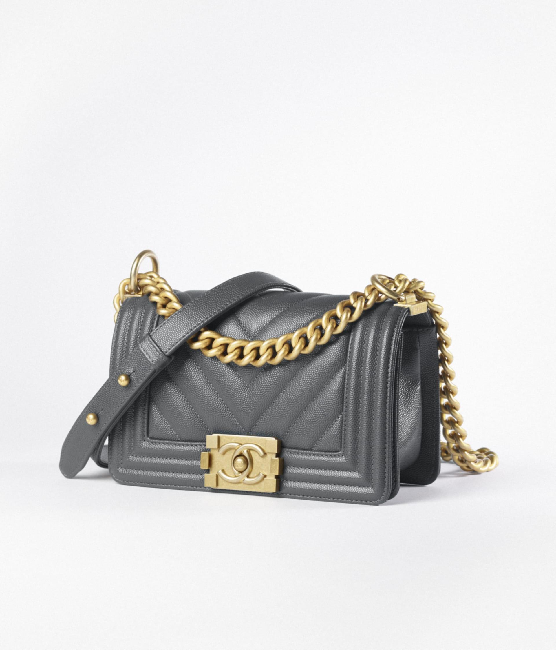 image 2 - Small BOY CHANEL Handbag - Grained Calfskin & Gold-Tone Metal - Dark Gray