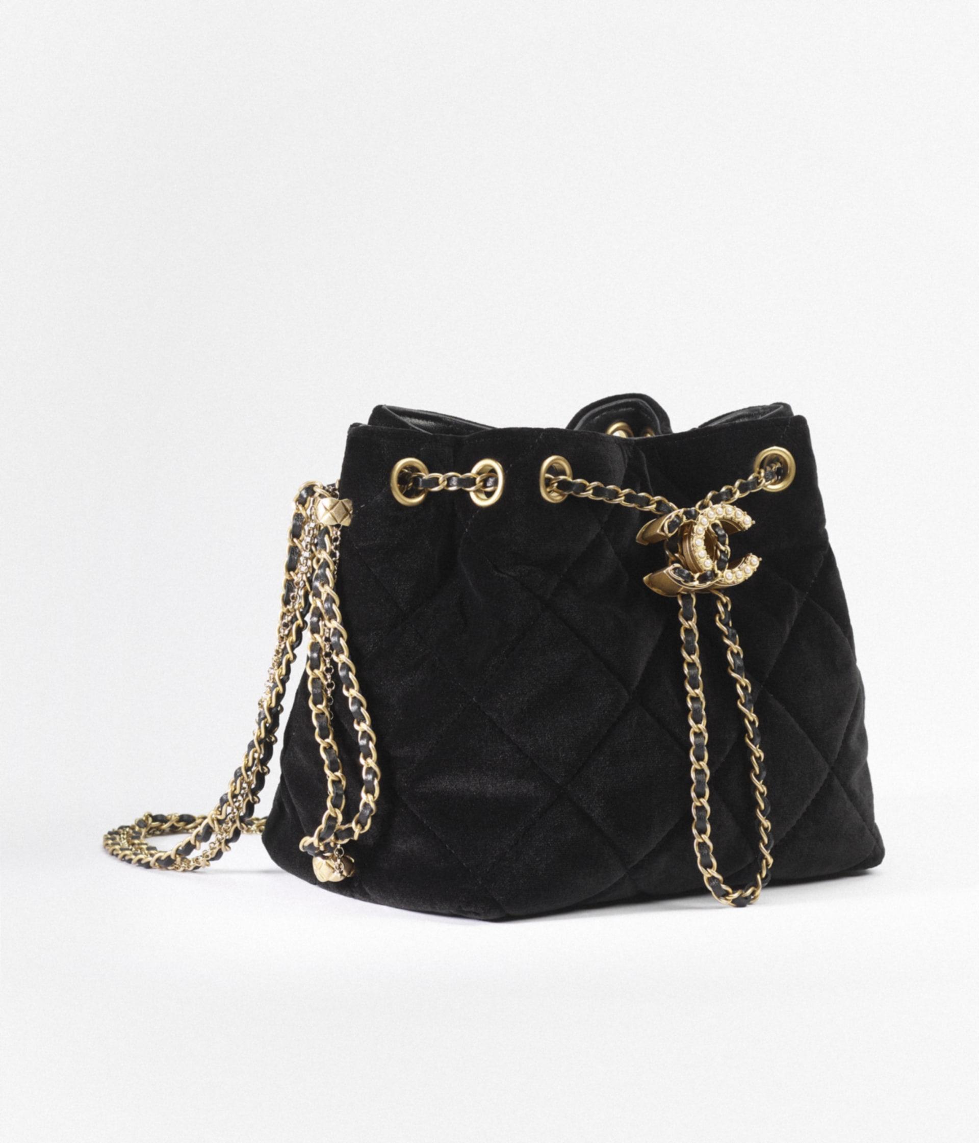 image 2 - Small Bucket Bag - Velvet & Gold-Tone Metal - Black