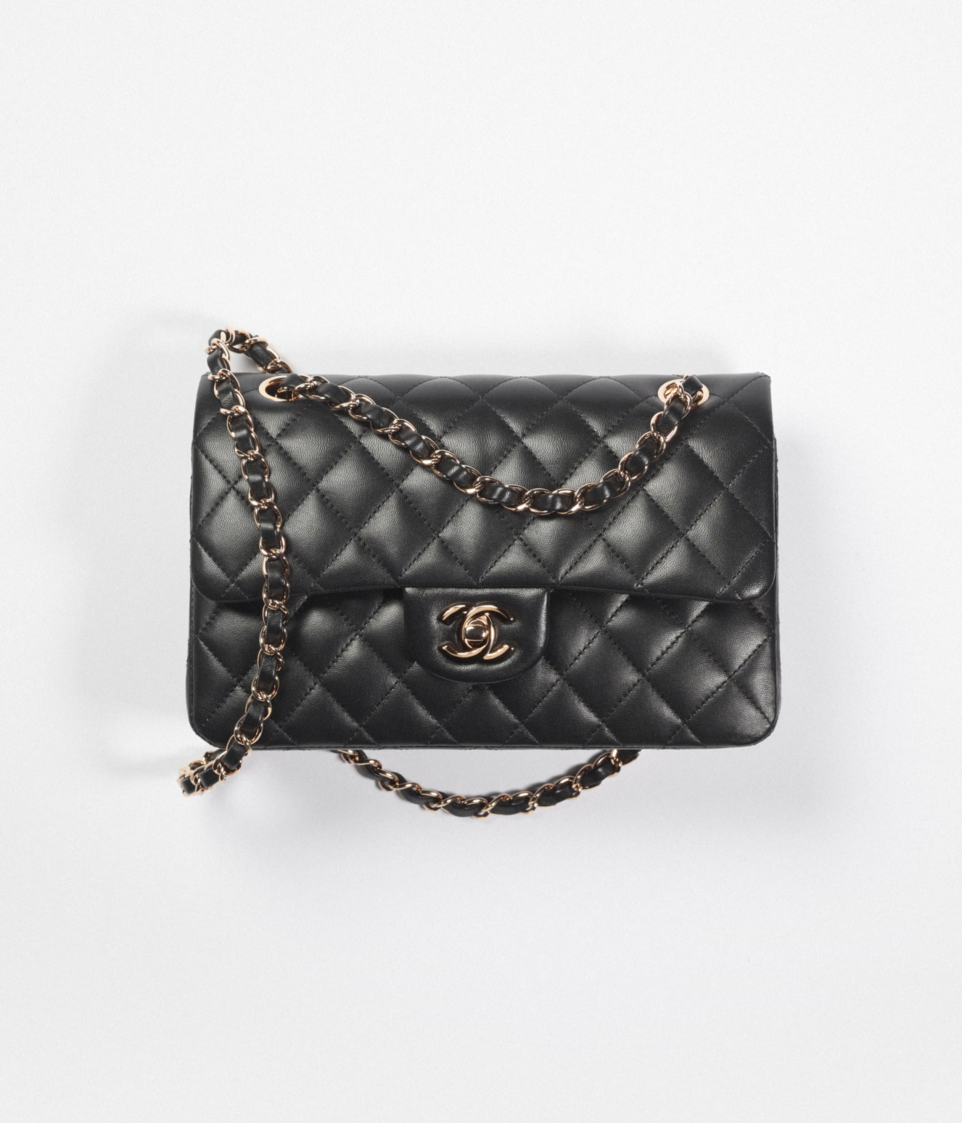 image 1 - Small Classic Handbag - Lambskin & Pink Gold-Tone Metal - Black