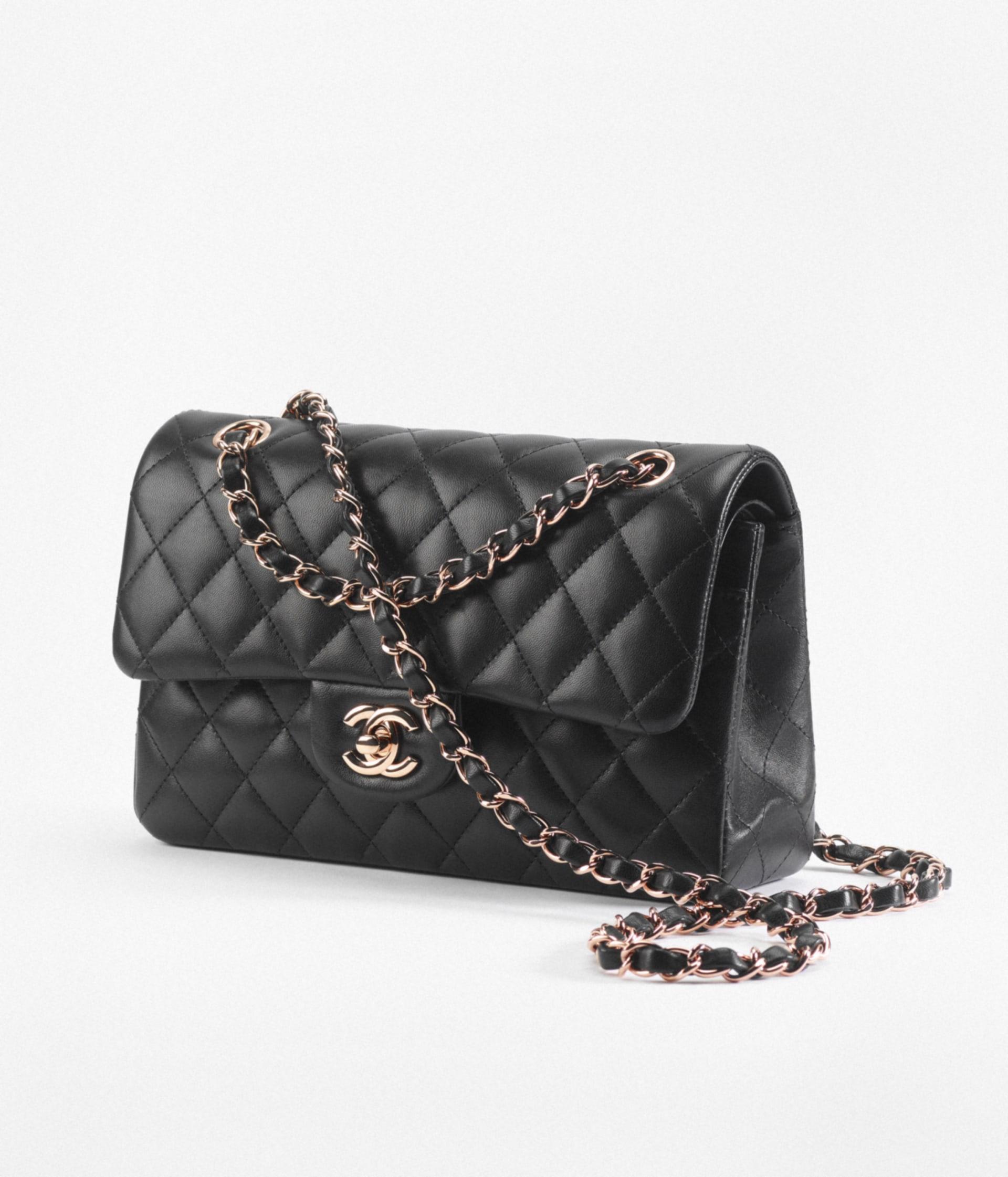 image 2 - Small Classic Handbag - Lambskin & Pink Gold-Tone Metal - Black