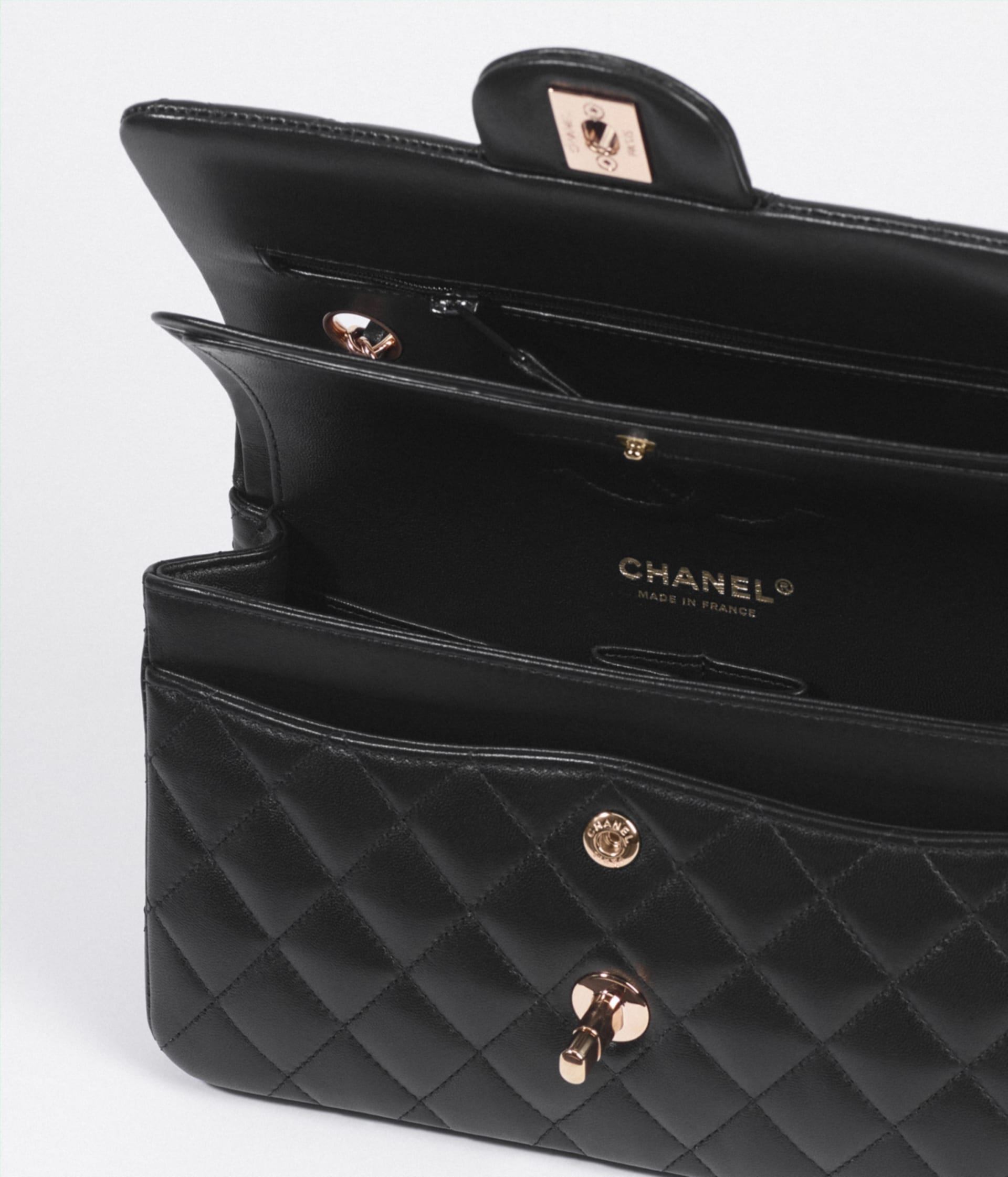 image 3 - Small Classic Handbag - Lambskin & Pink Gold-Tone Metal - Black