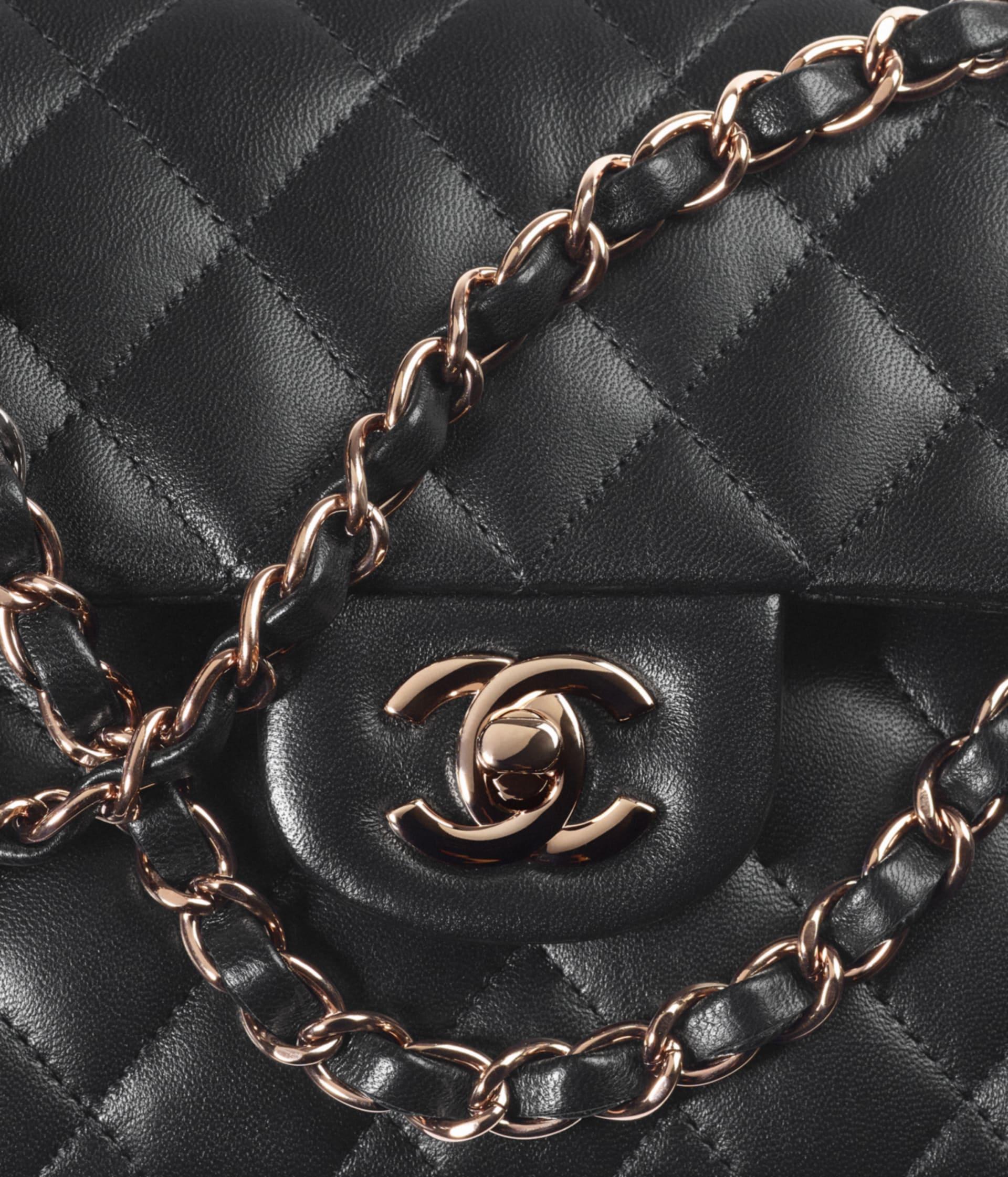 image 4 - Small Classic Handbag - Lambskin & Pink Gold-Tone Metal - Black