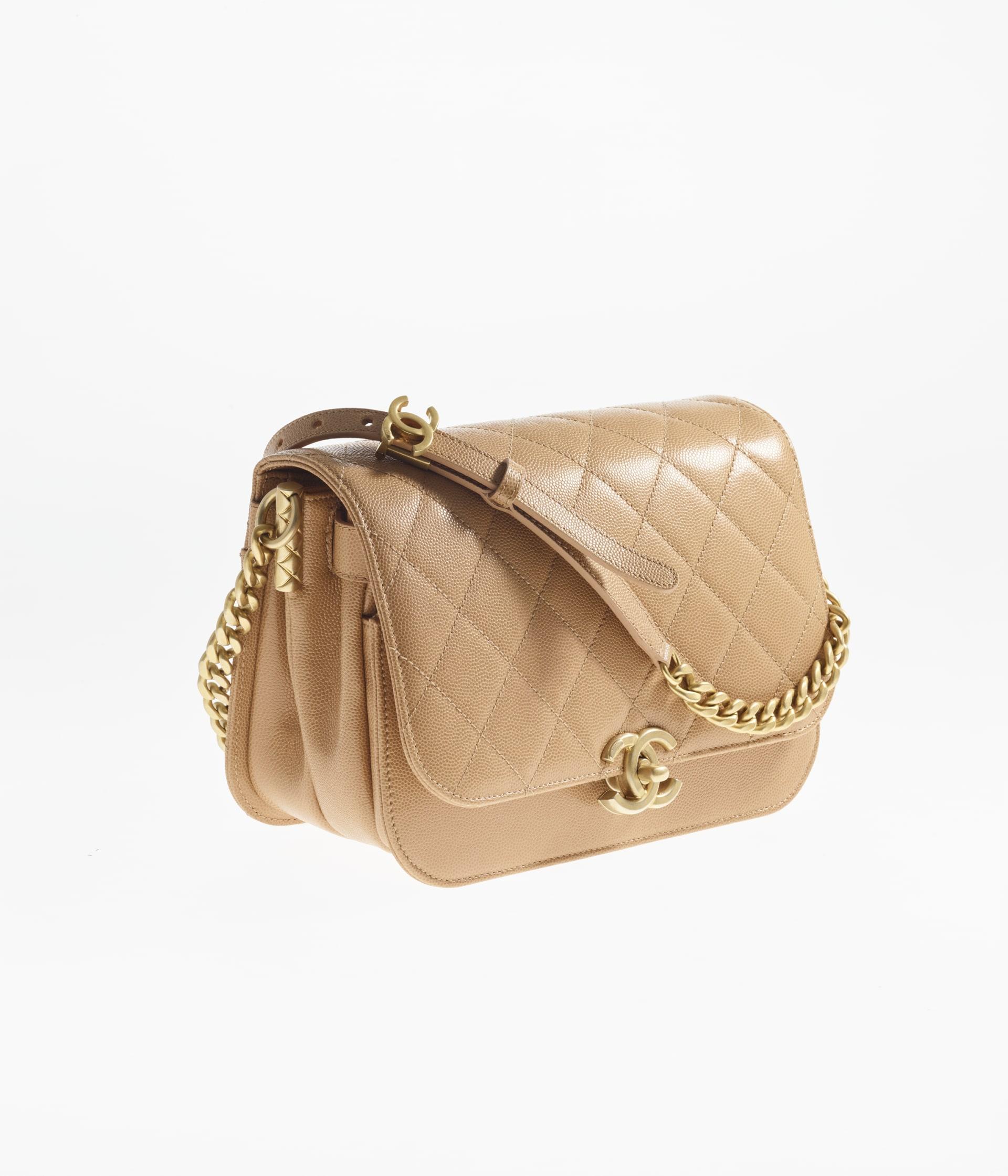 image 2 - Small Messenger Bag - Grained Calfskin & Gold-Tone Metal - Beige