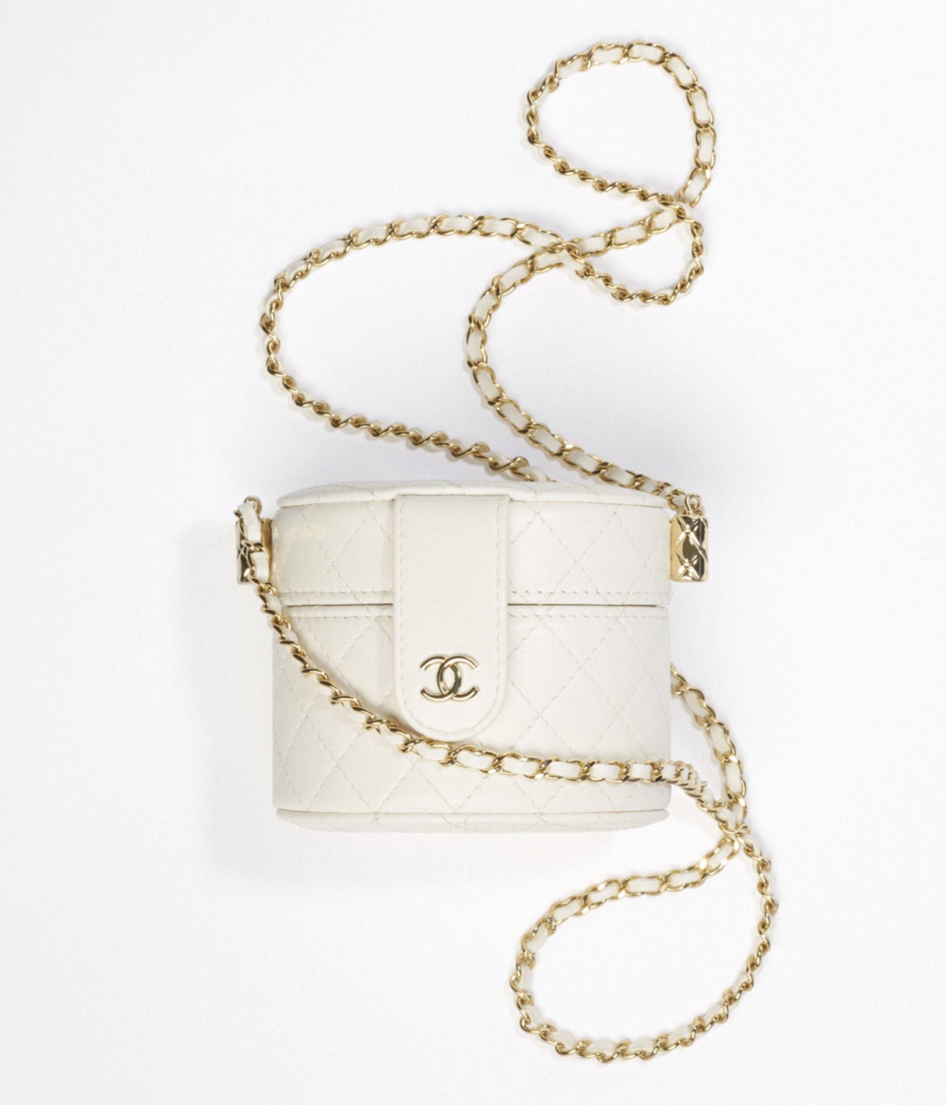 image 1 - Bolsa Vanity Pequena com Corrente - Couro de cordeiro granulado & Metal Prateado - Branco