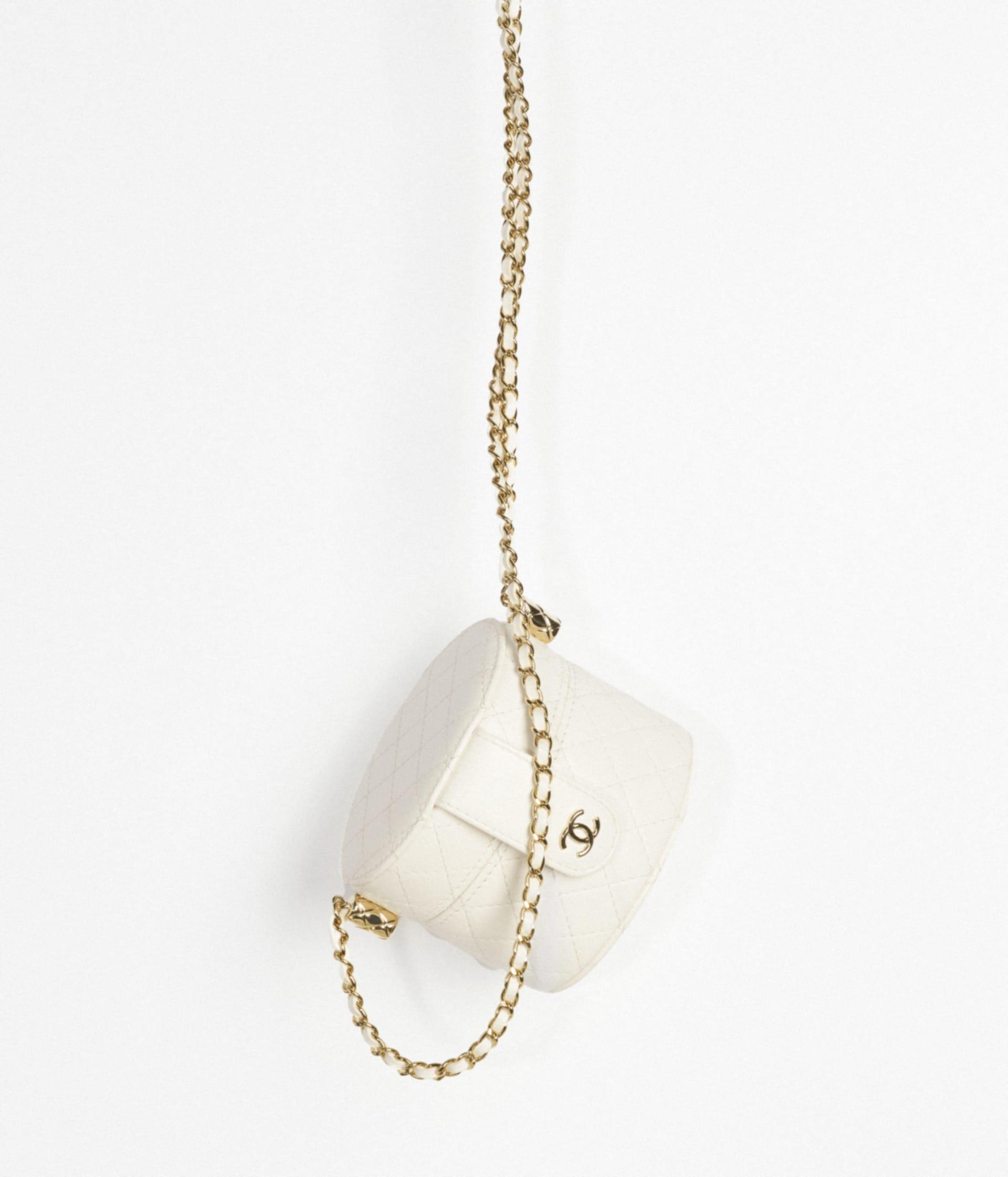 image 3 - Bolsa Vanity Pequena com Corrente - Couro de cordeiro granulado & Metal Prateado - Branco