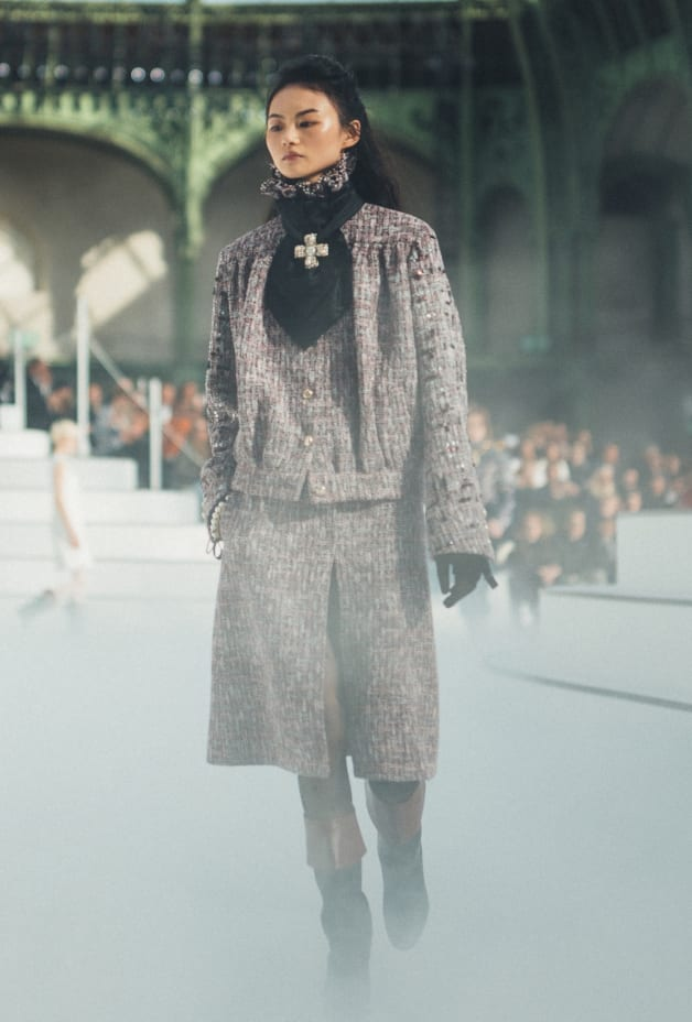 image 1 - Blouson - Embroidered Wool & Cotton Tweed - Burgundy, White & Black