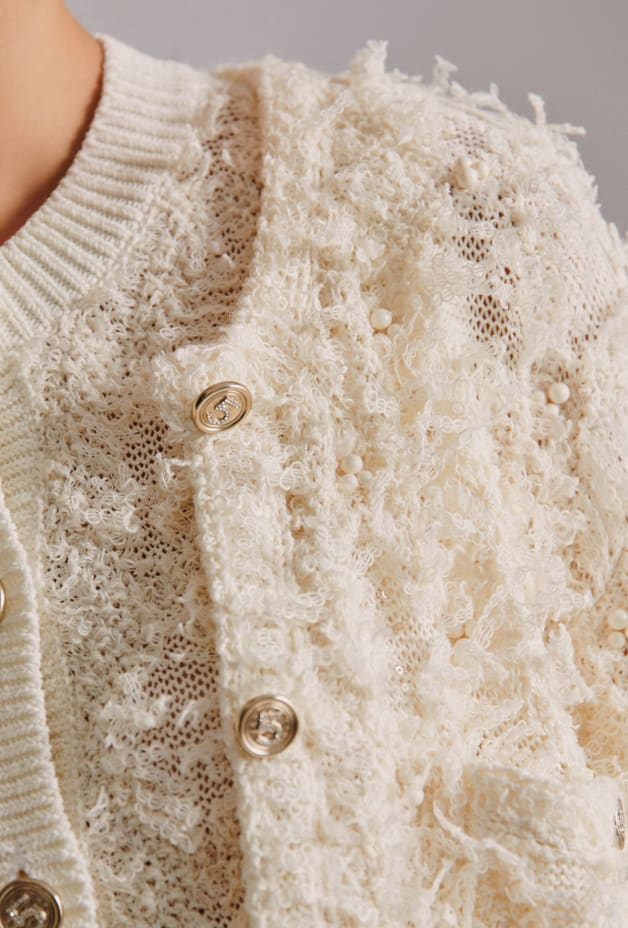 image 2 - Cardigan - Embroidered Cotton & Hemp - Bege