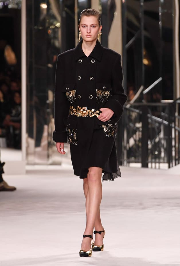image 1 - Coat - Embroidered Wool & Cashmere Tweed - Black