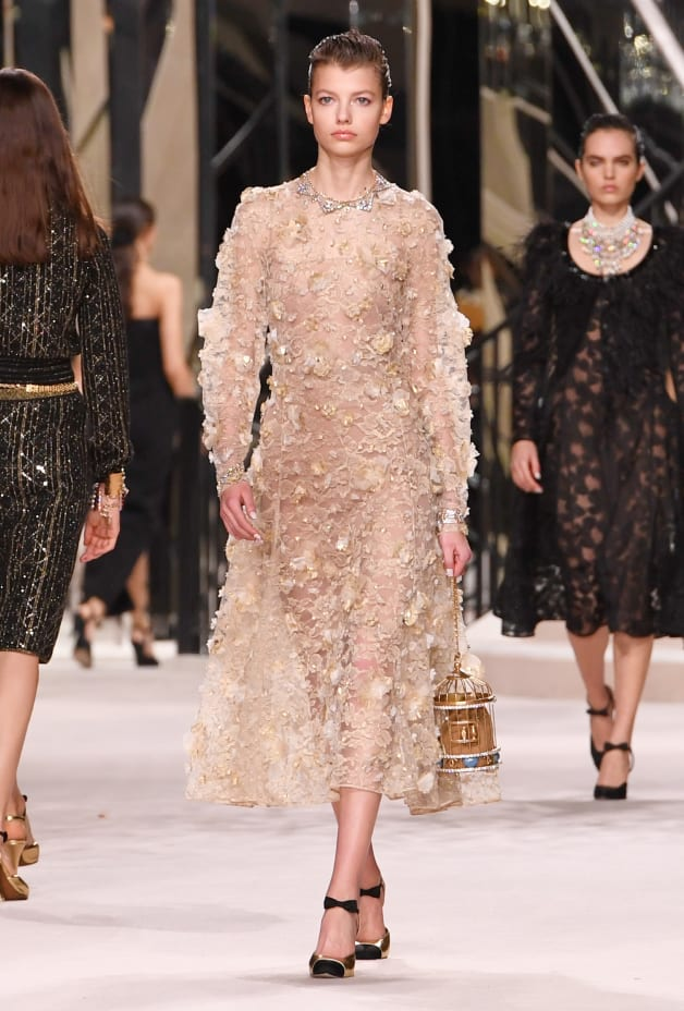 image 1 - Dress - Embroidered Lace - Beige & Gold