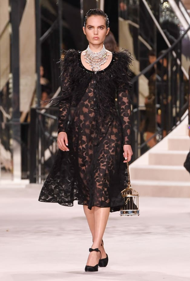 image 1 - Dress - Embroidered Lace with Feathers - Black