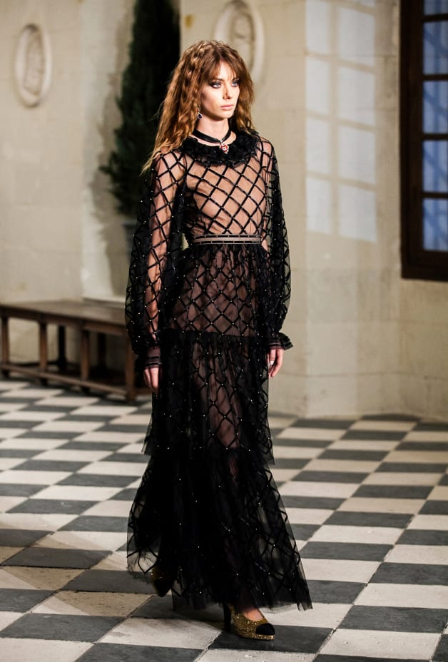 image 2 - Dress - Embroidered Silk Tulle - Black