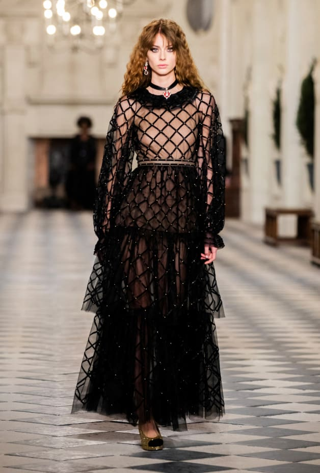 image 1 - Dress - Embroidered Silk Tulle - Black