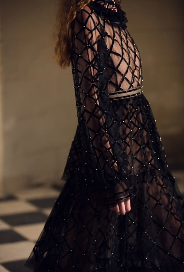 image 3 - Dress - Embroidered Silk Tulle - Black