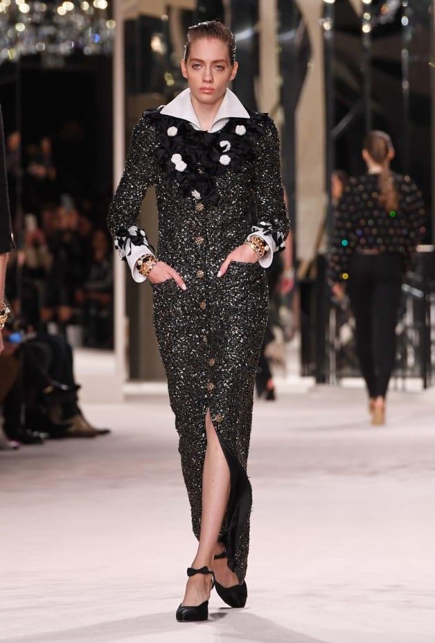 image 1 - Dress - Embroidered Tweed - Black & Gold