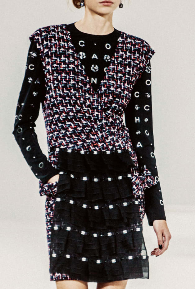 image 2 - Dress - Embroidered Tweed - Navy Blue, Black, Red & White