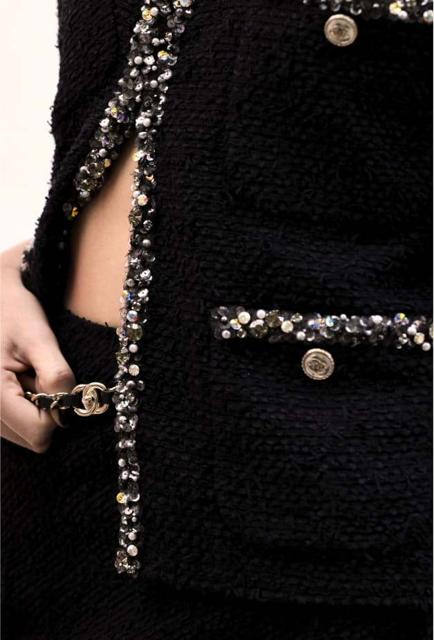 image 2 - Jacket - Embroidered Tweed - Black