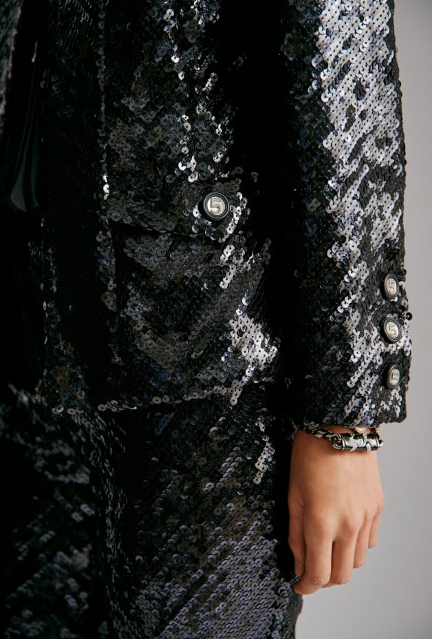 image 3 - Jacket - Sequin Embroidered Silk Muslin - Black